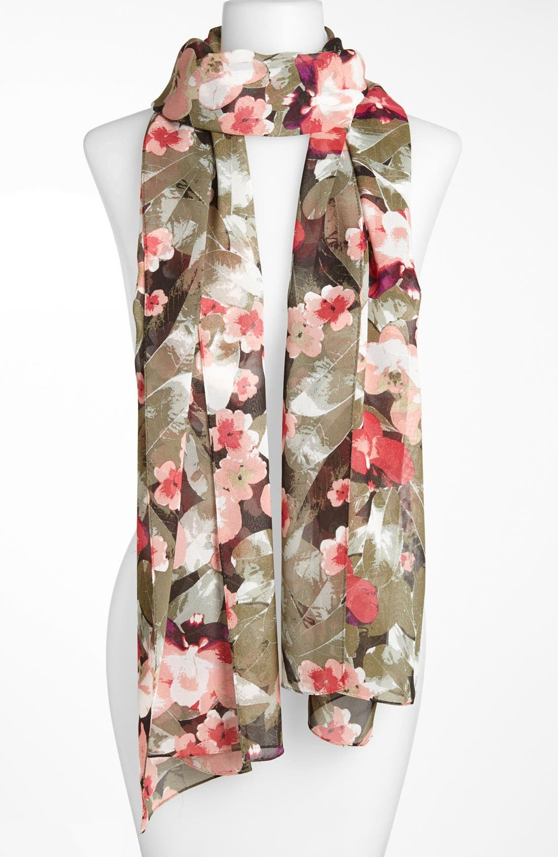 Main Image - St. John Collection Orchid Print Silk Georgette Scarf