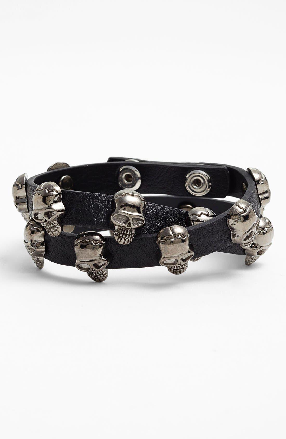 Main Image - Natasha Couture 'Skull' Double Wrap Bracelet