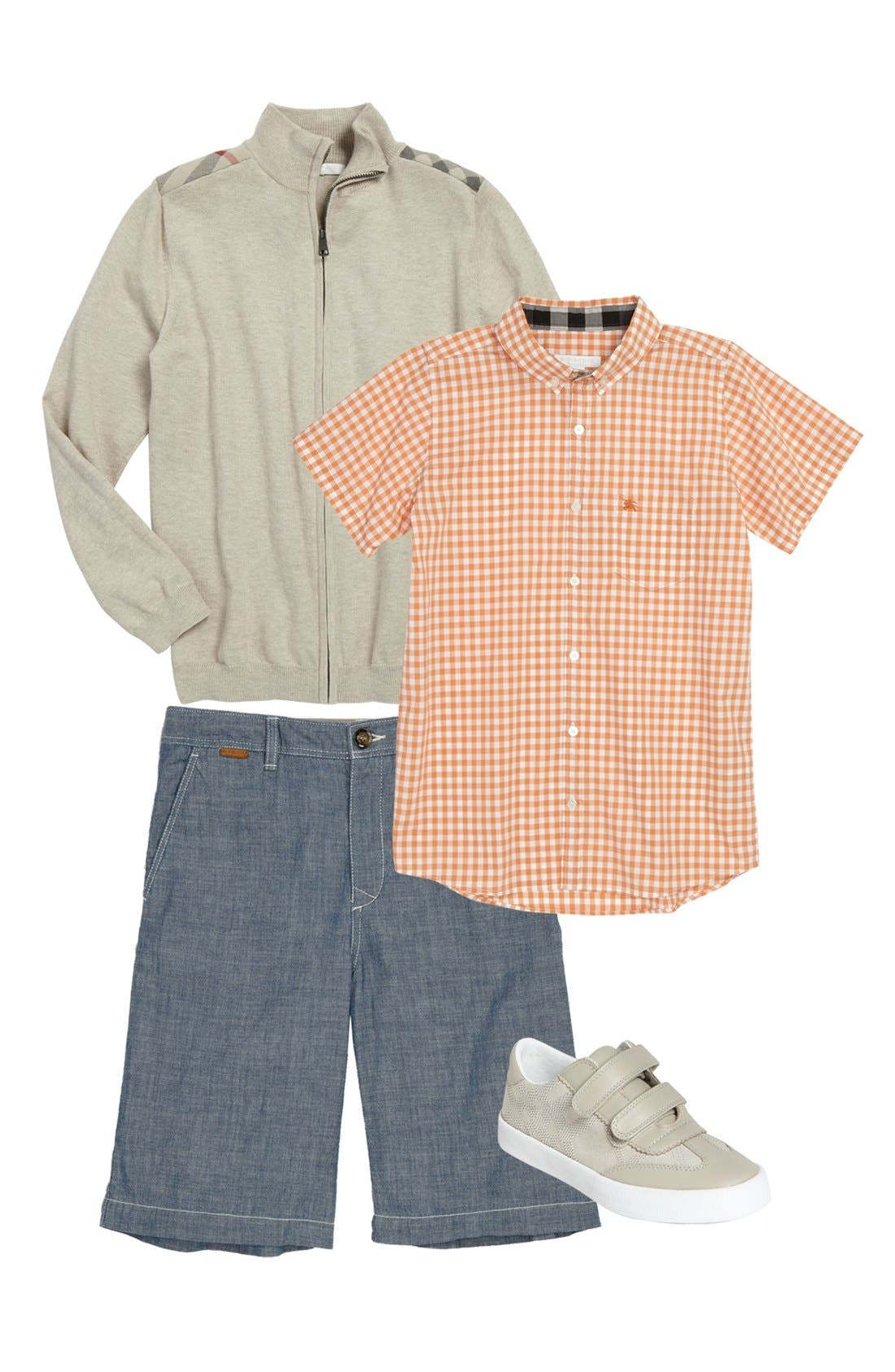 Main Image - Burberry Woven Shirt, Sweater, Shorts & Sneaker (Little Boys & Big Boys)