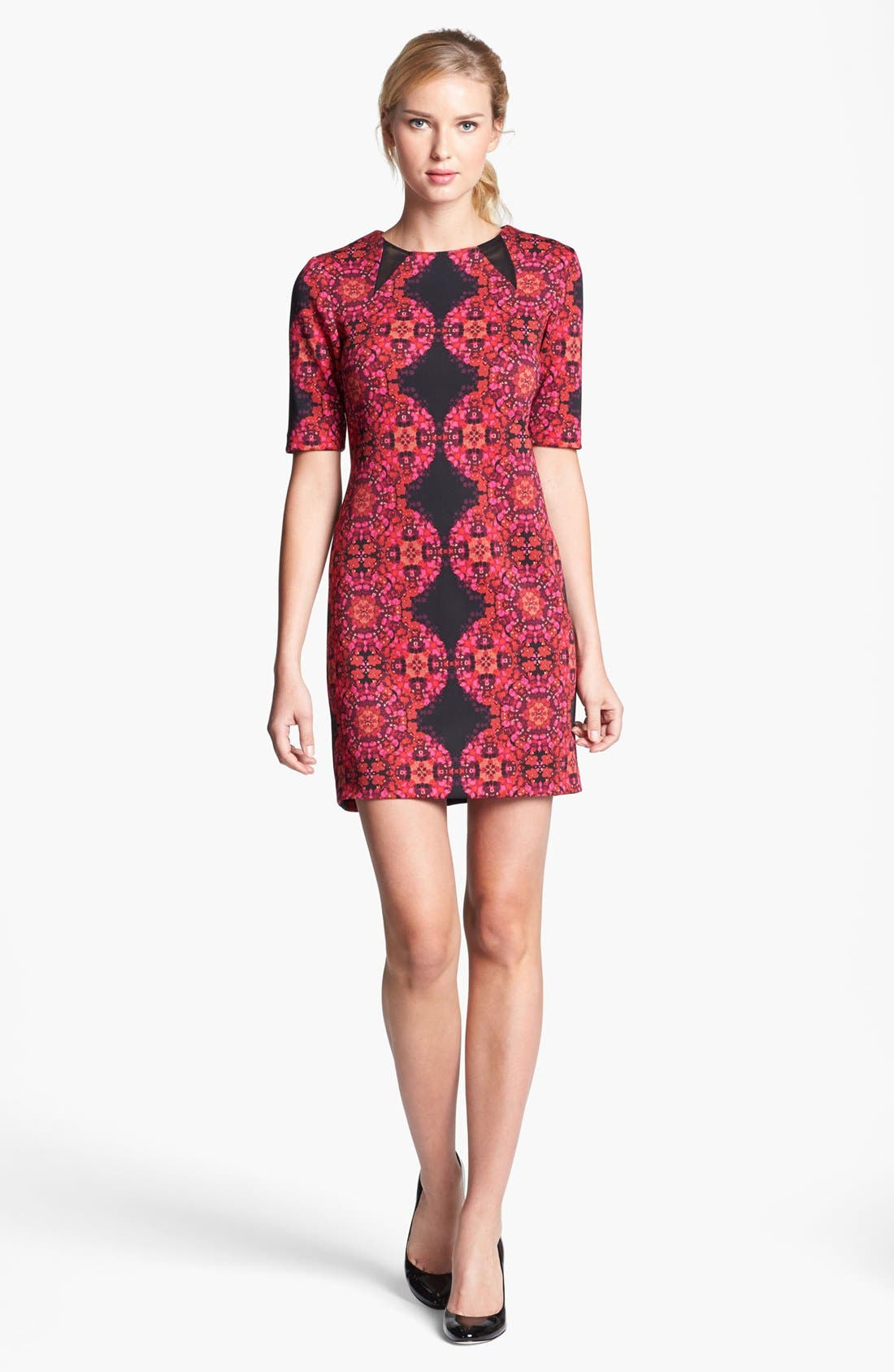 Alternate Image 4  - Taylor Dresses Elbow Sleeve Print Ponte Sheath Dress