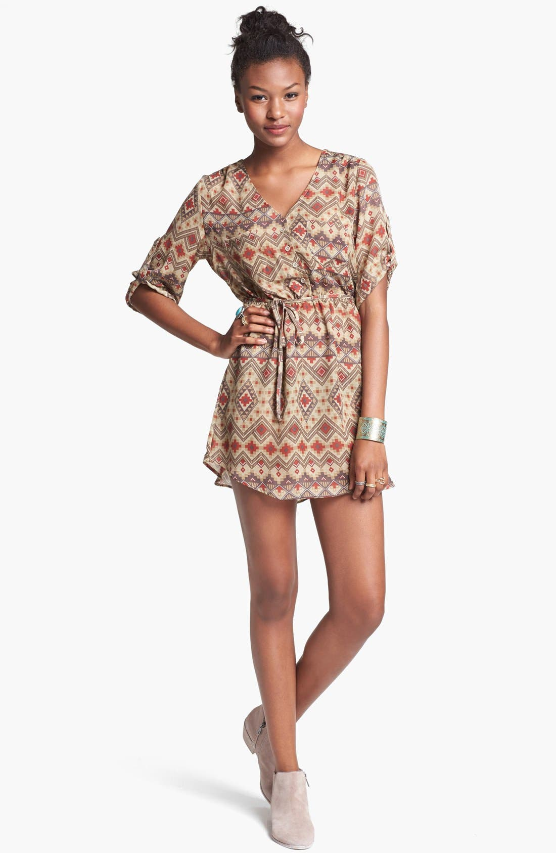 Alternate Image 1 Selected - Mimi Chica Print Shirtdress (Juniors) (Online Only)