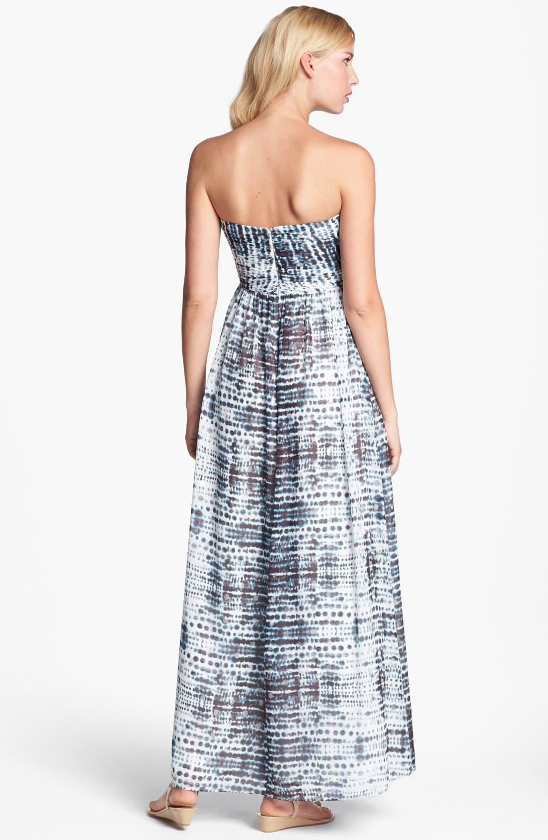 Alternate Image 2  - Calvin Klein Strapless Print Gown