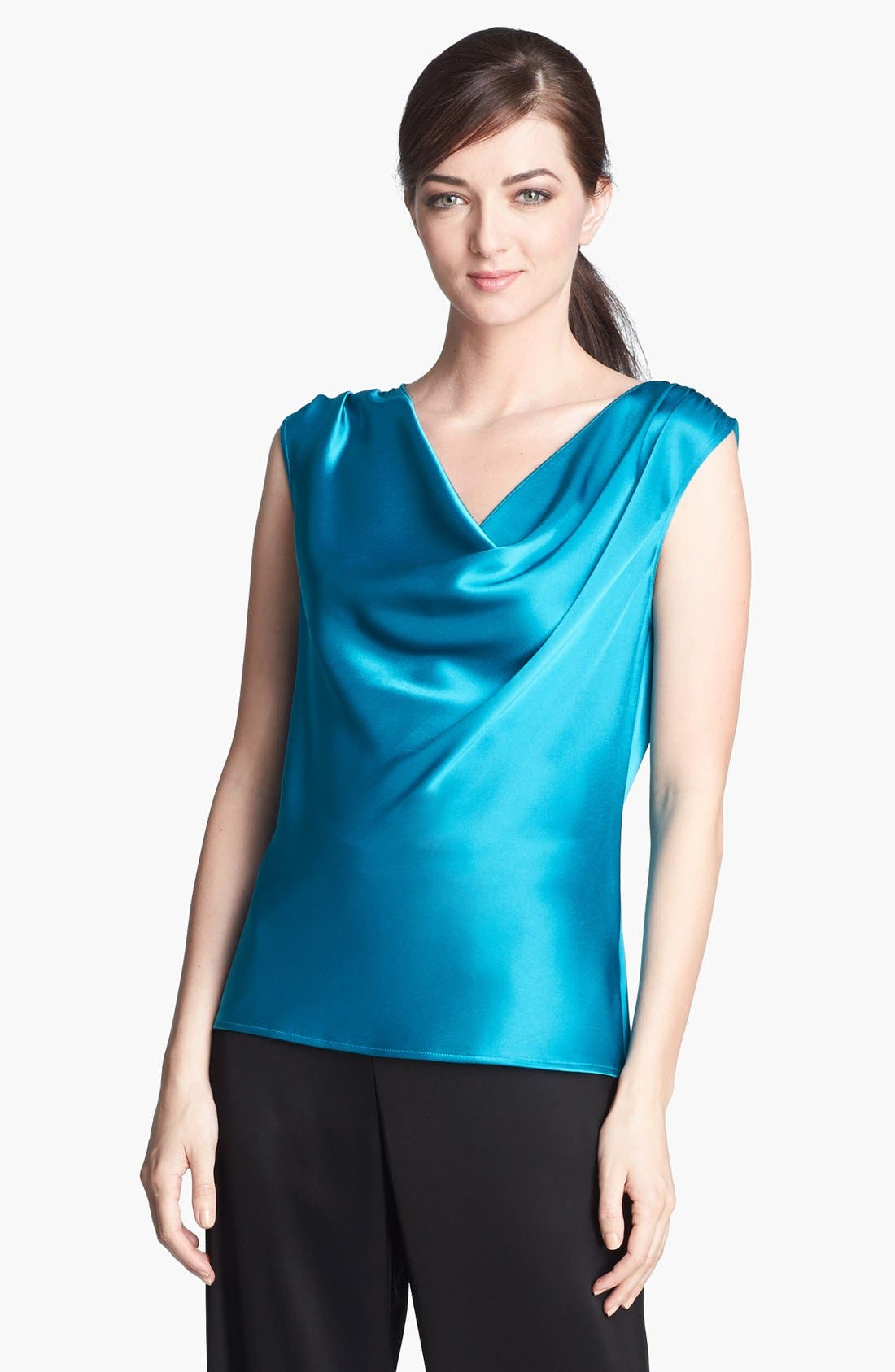 Alternate Image 1 Selected - St. John Collection Cowl Neck Liquid Satin Top