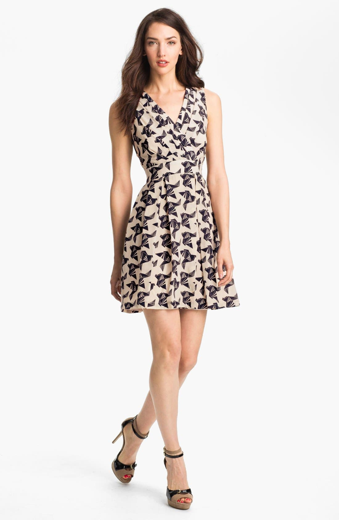 Alternate Image 1 Selected - Eliza J Bird Print Sleeveless Dress (Petite)