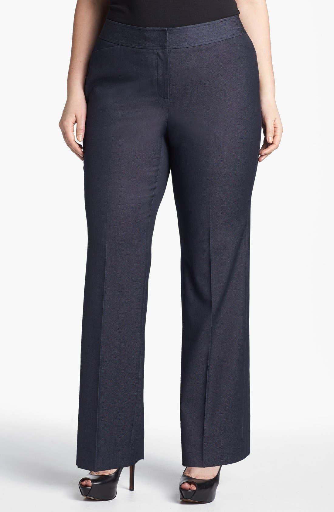 Main Image - Sejour 'Polished Indigo' Suit Trousers (Plus Size)