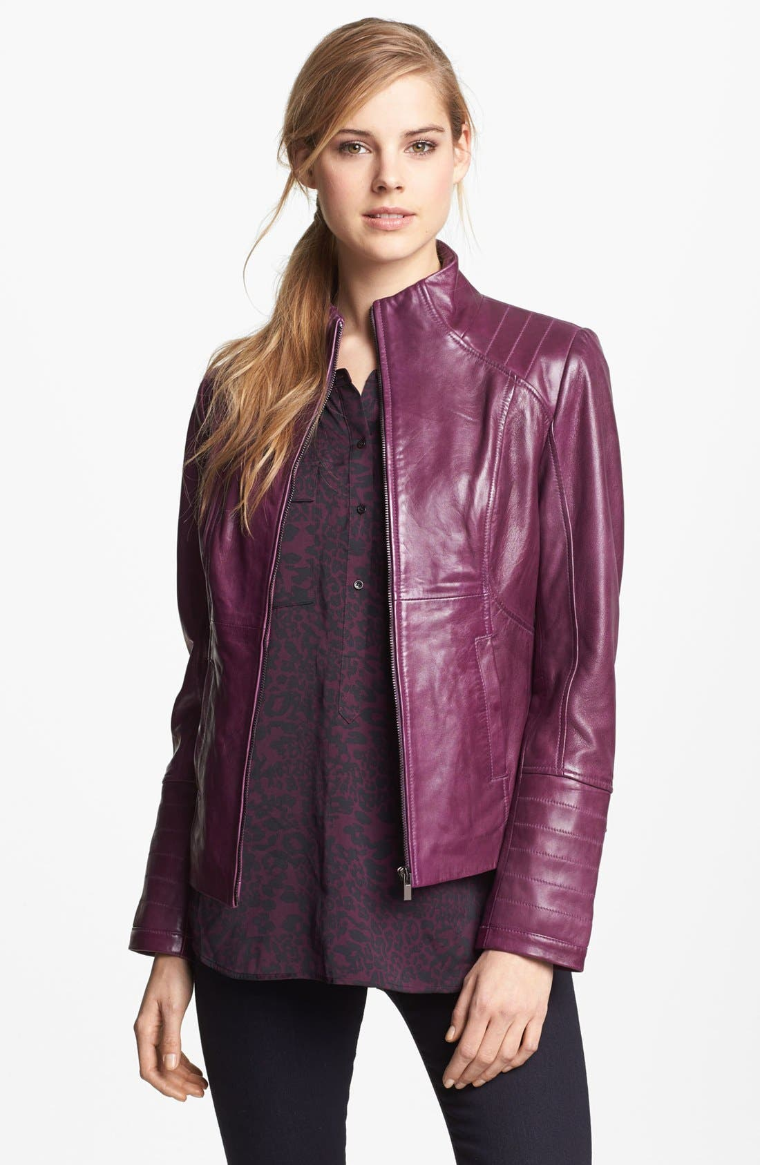 Alternate Image 1 Selected - LaMarque Funnel Neck Leather Jacket