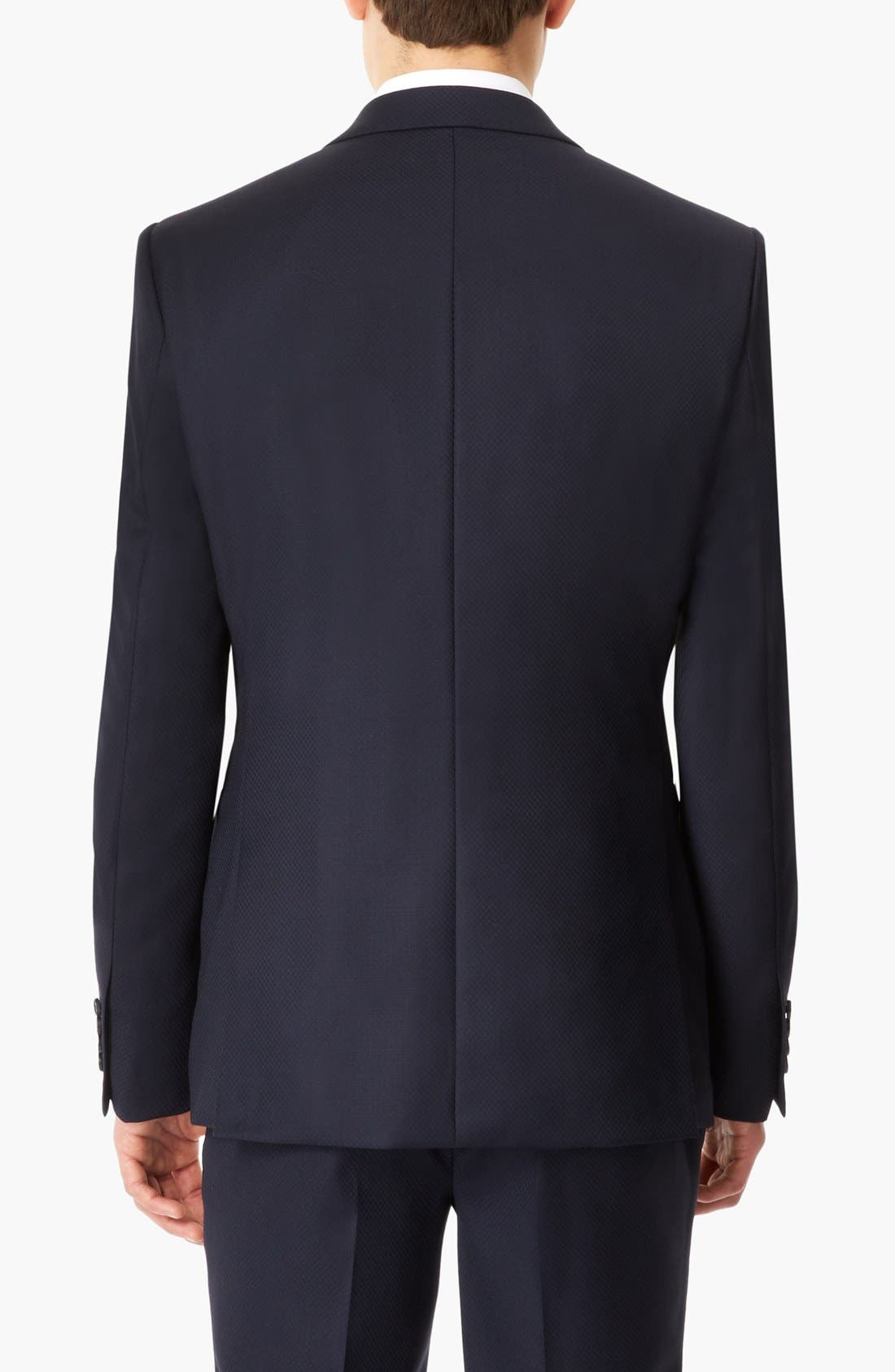 Alternate Image 2  - Topman 'Lux Collection' Slim Fit Navy Wool One Button Blazer