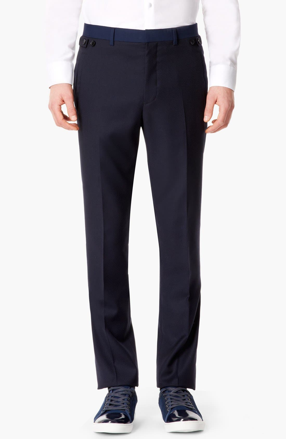 Main Image - Topman 'Lux Collection' Slim Fit Wool Trousers