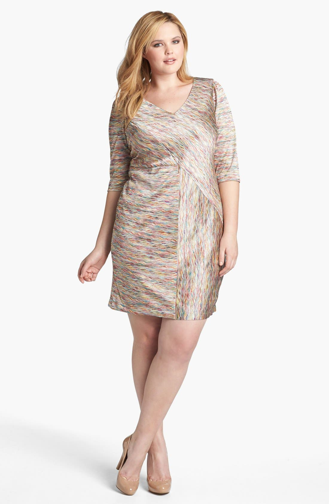 Main Image - London Times Seamed Knit Sheath Dress (Plus Size)