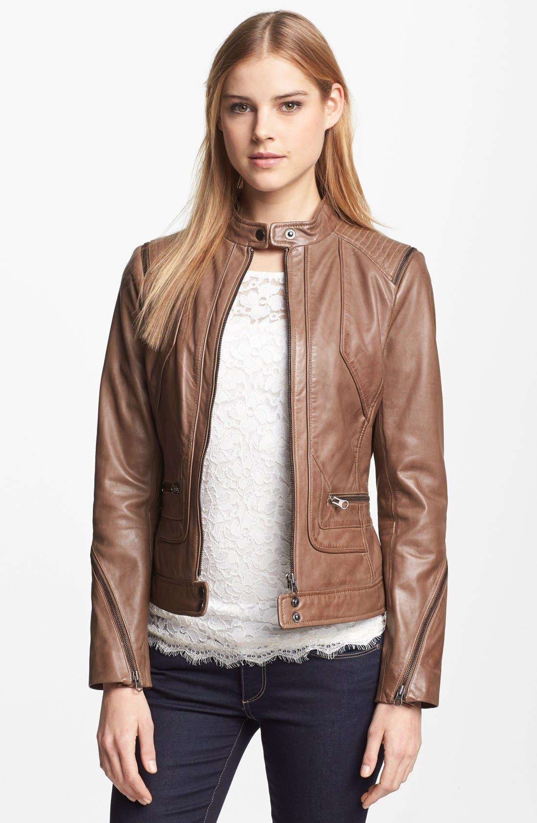 Alternate Image 1 Selected - Bernardo Zip Trim Leather Scuba Jacket (Regular & Petite)