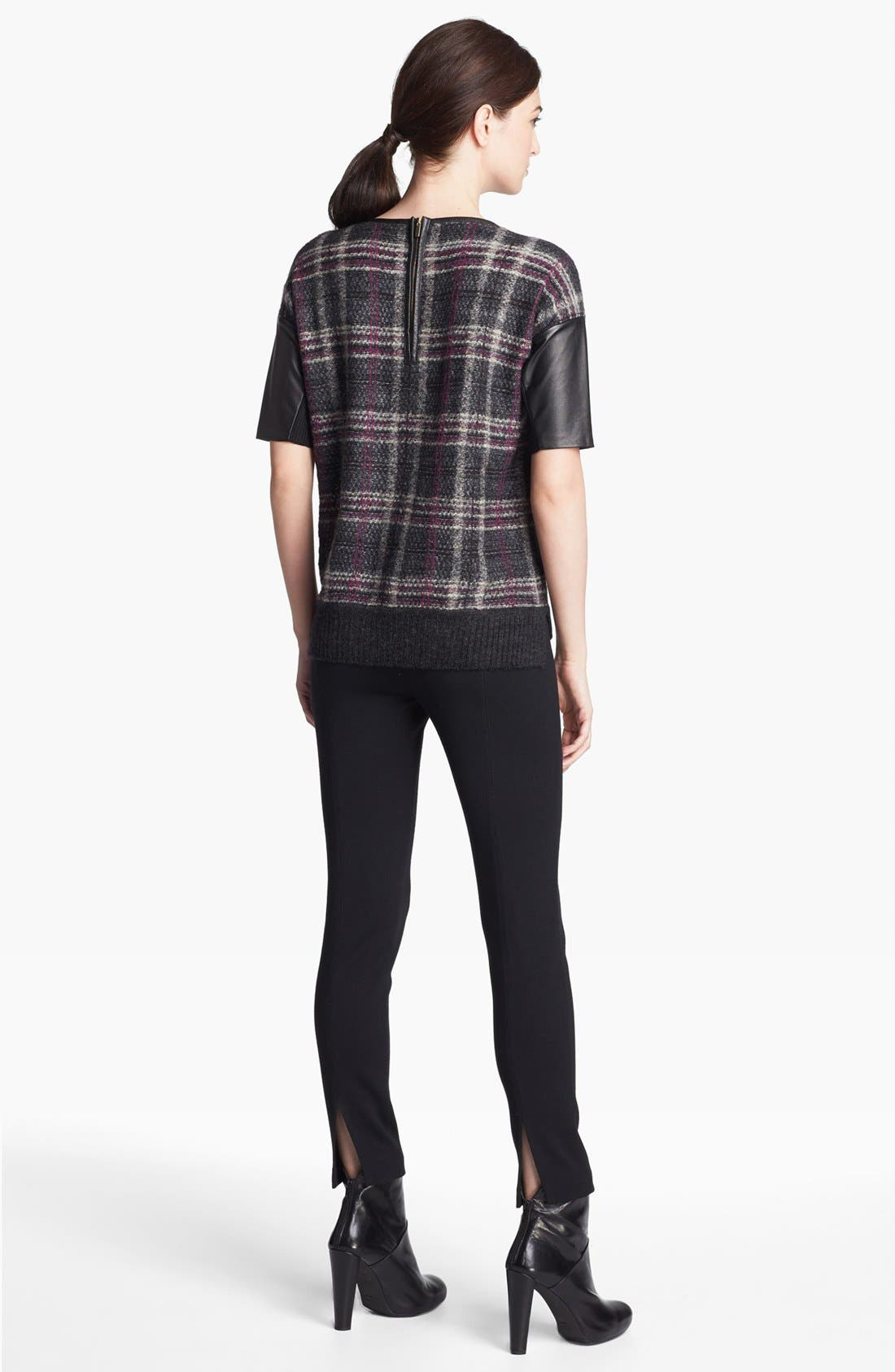 Alternate Image 3  - St. John Collection Leather Accent Plaid Sweater