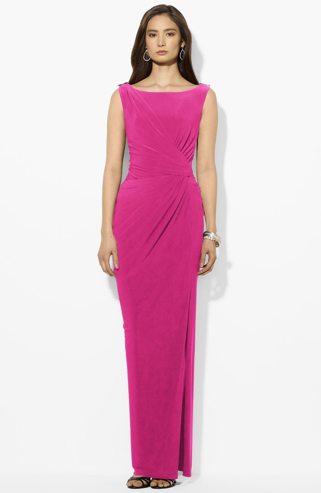 Main Image - Lauren Ralph Lauren Embellished Matte Jersey Gown