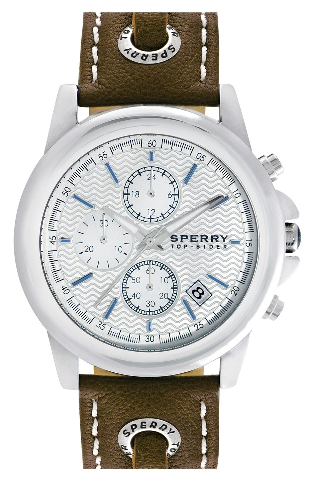 Main Image - Sperry 'Halyard' Chronograph Leather Strap Watch, 42mm
