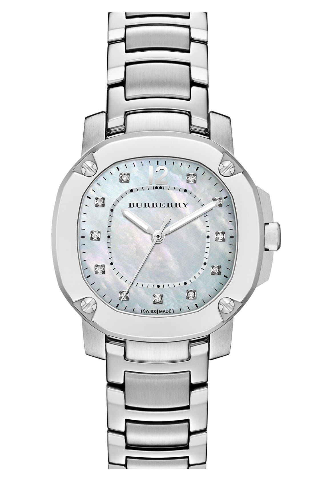 Alternate Image 1 Selected - Burberry The Britain Mother-of-Pearl Bracelet Watch, 34mm