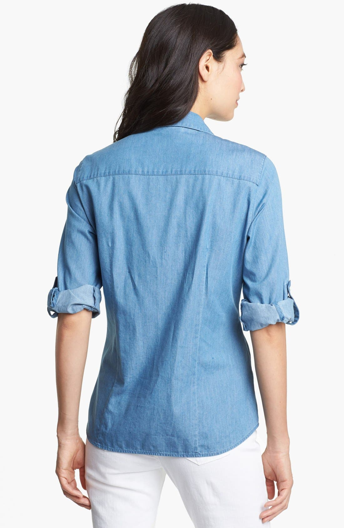 Alternate Image 2  - Foxcroft Roll Sleeve Denim Shirt