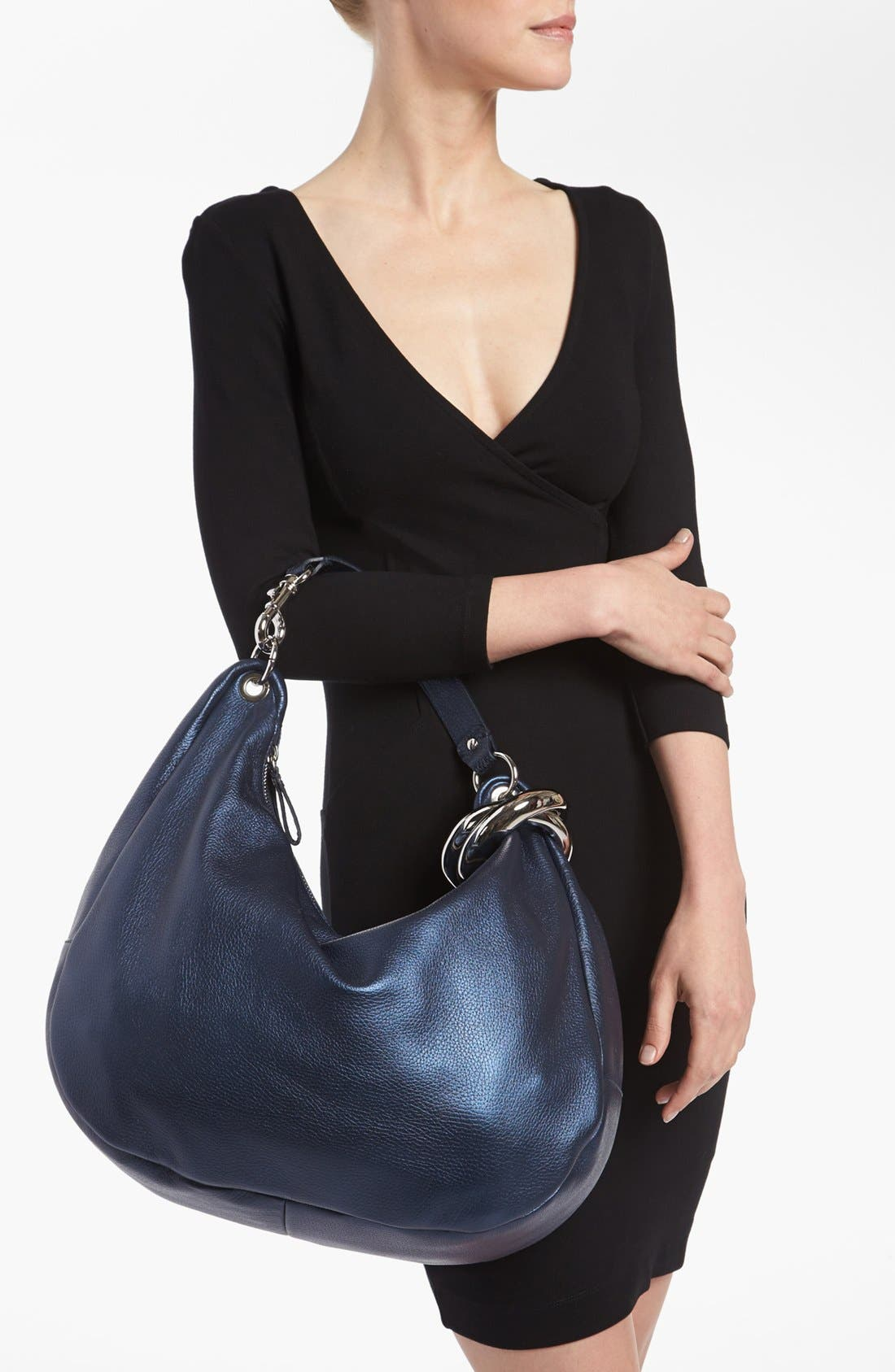 Alternate Image 2  - Jimmy Choo 'Solar - Large' Pearlized Metallic Leather Hobo
