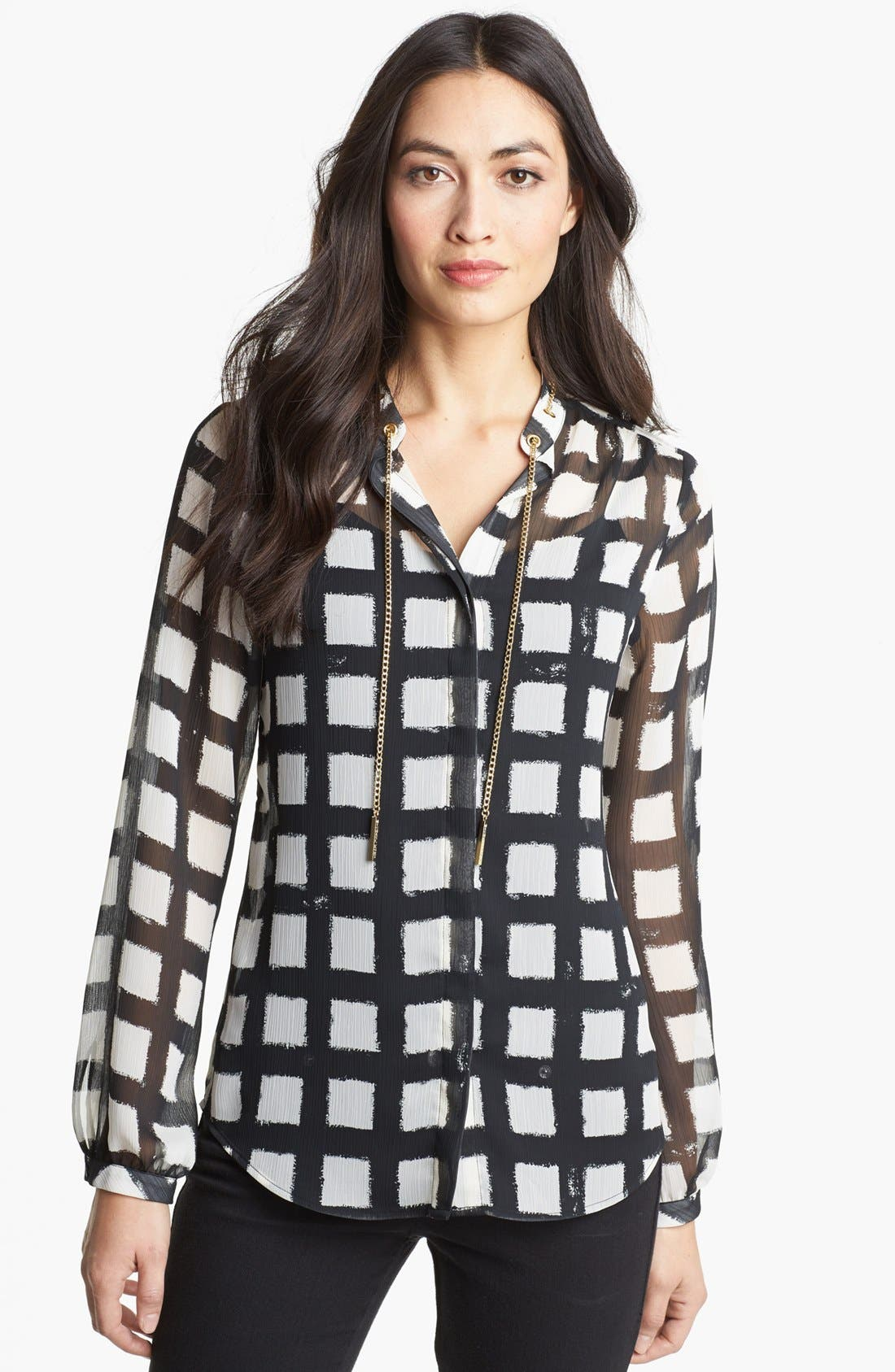 Main Image - MICHAEL Michael Kors Chain Trim Check Print Blouse (Regular & Petite)