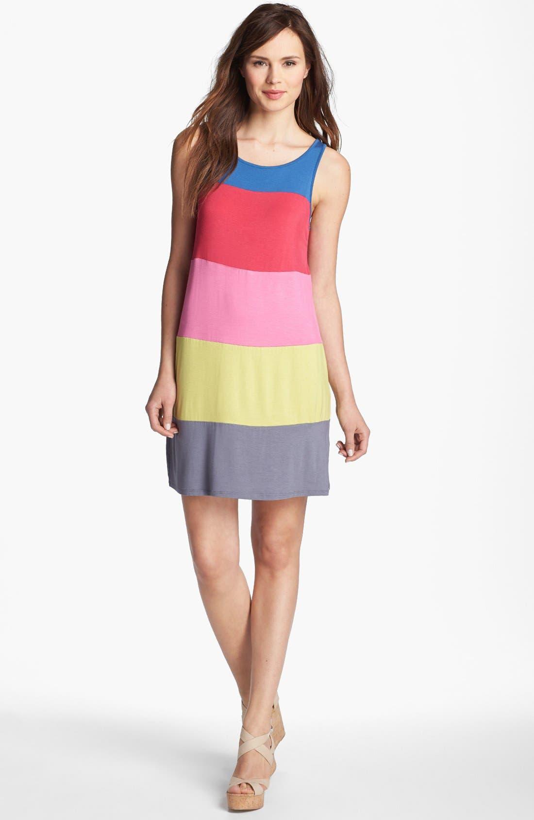 Alternate Image 1 Selected - Kensie Colorblock Knit Tank Dress