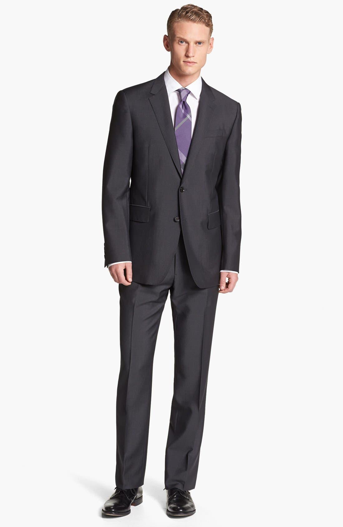 Alternate Image 1 Selected - Burberry London Trim Fit Charcoal Wool & Mohair Suit