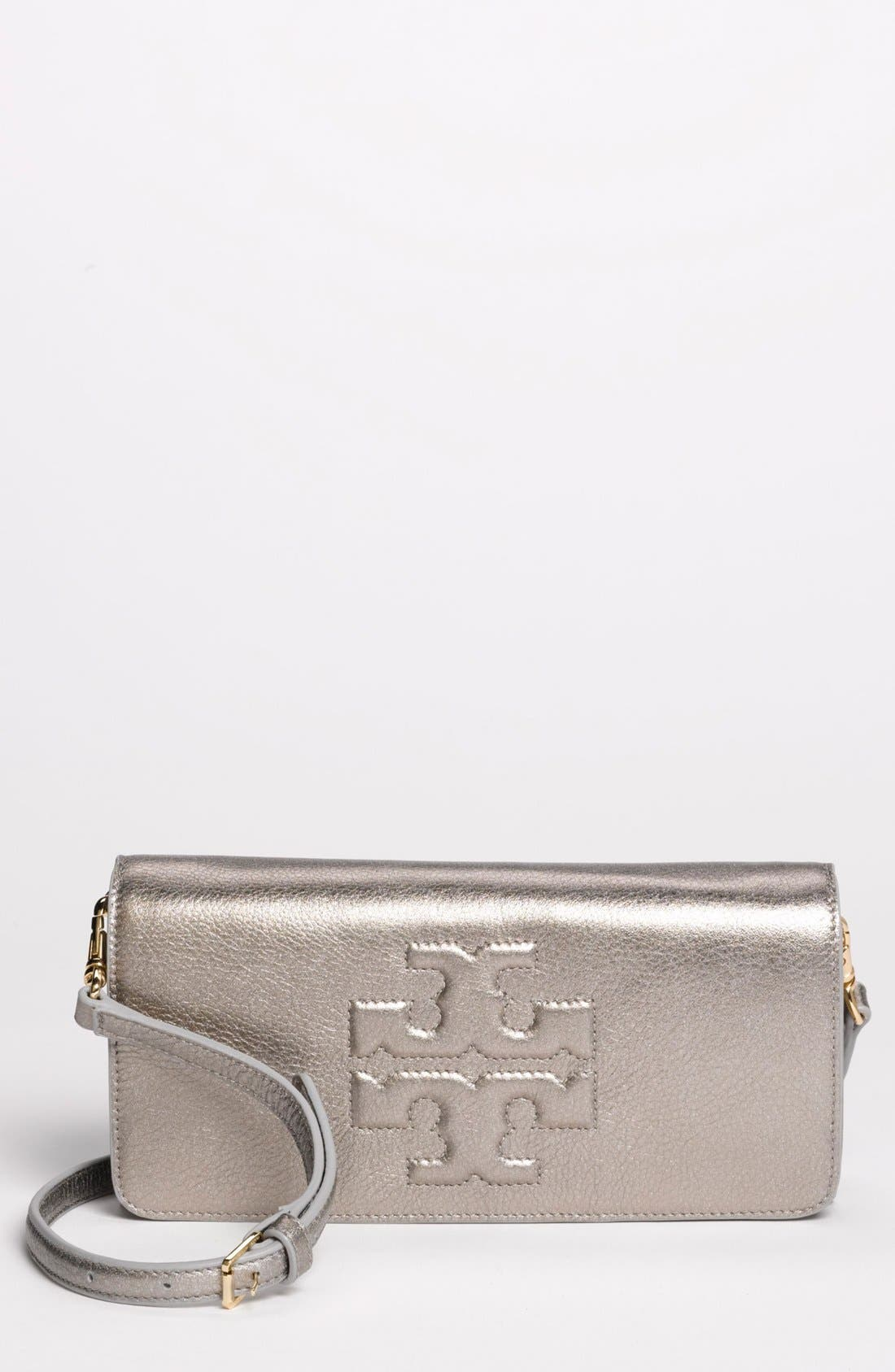 Alternate Image 1 Selected - Tory Burch 'Thea Bombe' Metallic Leather Clutch