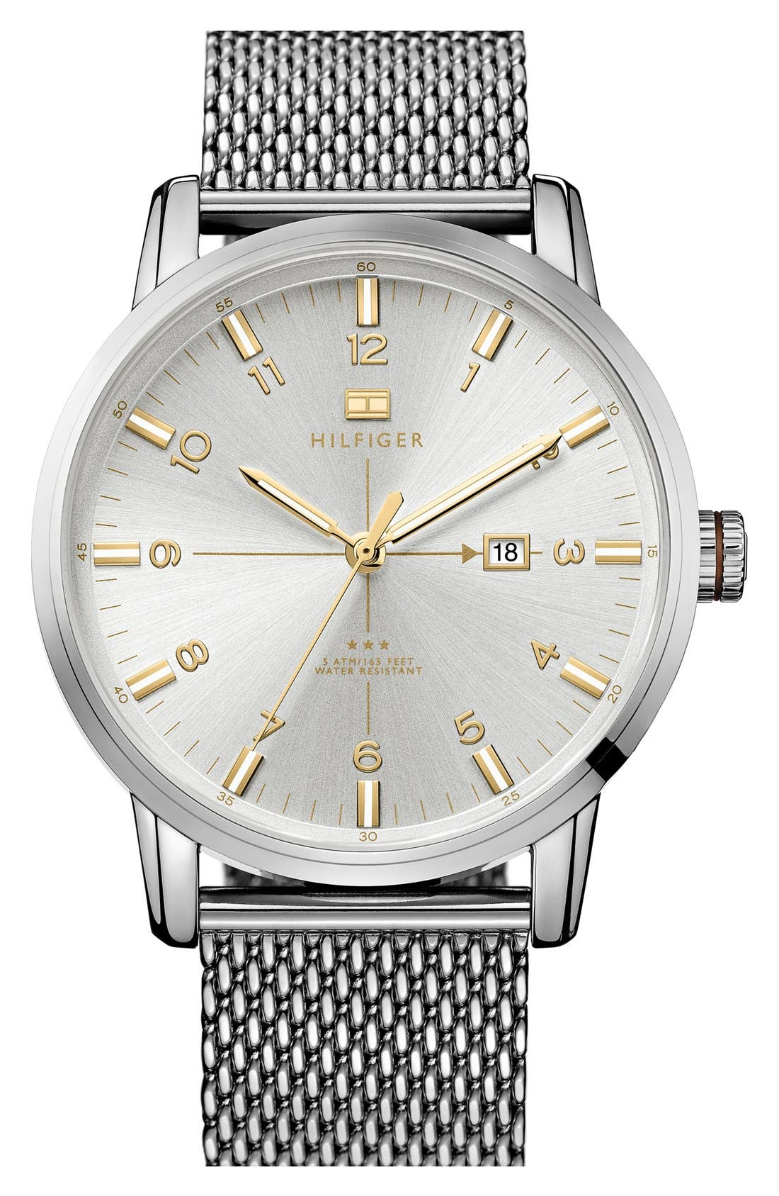 Alternate Image 1 Selected - Tommy Hilfiger Round Mesh Bracelet Watch, 44mm