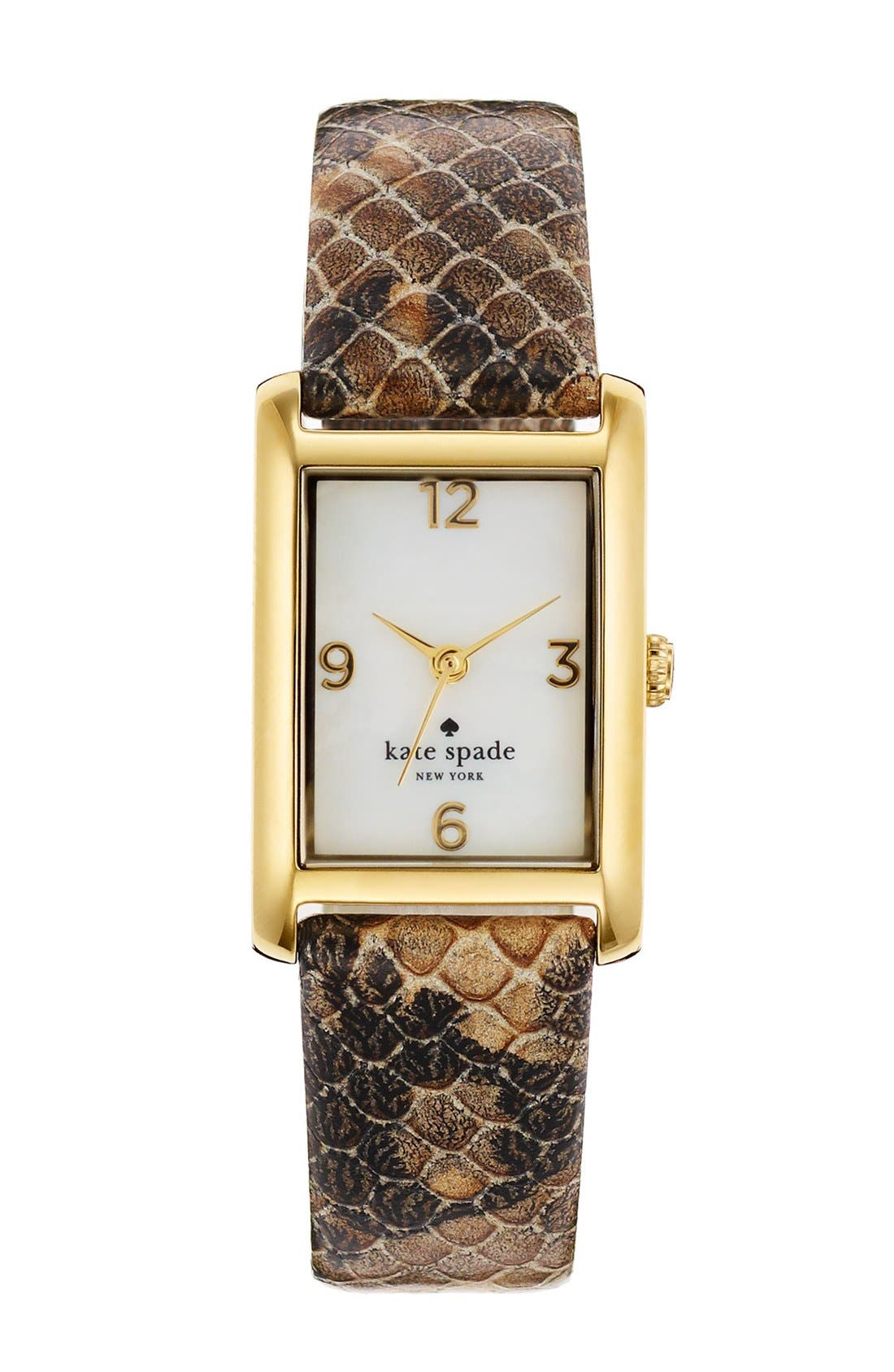 Alternate Image 1 Selected - kate spade new york 'cooper' embossed leather strap watch, 21mm x 32mm