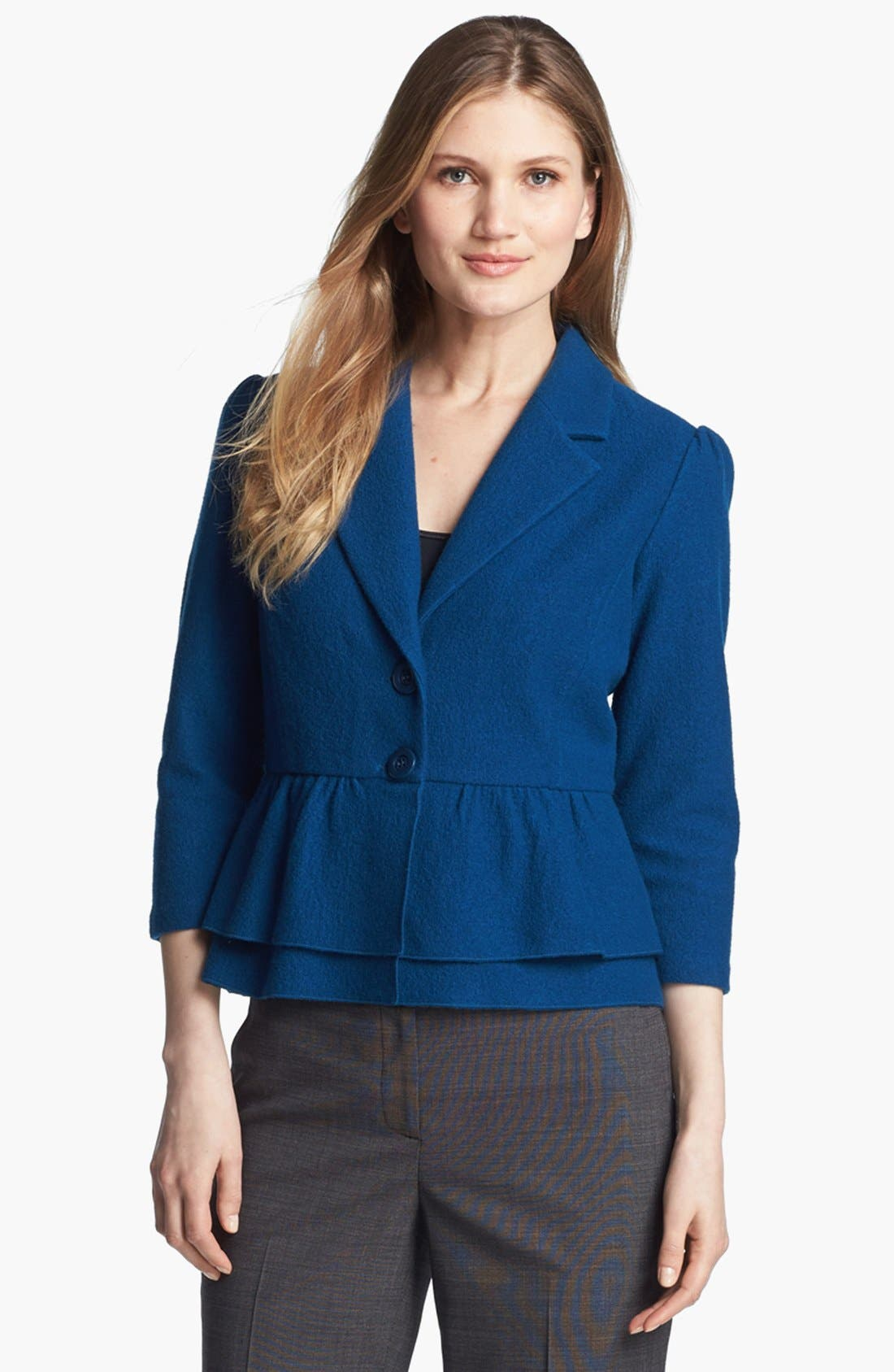 Main Image - Classiques Entier® Boiled Wool Peplum Sweater Jacket
