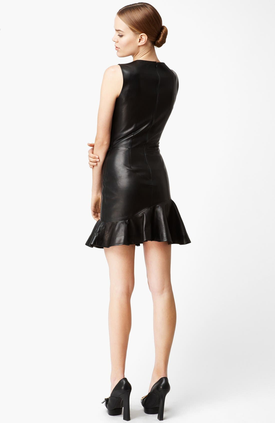 Alternate Image 2  - Alexander McQueen Flounce Leather Dress