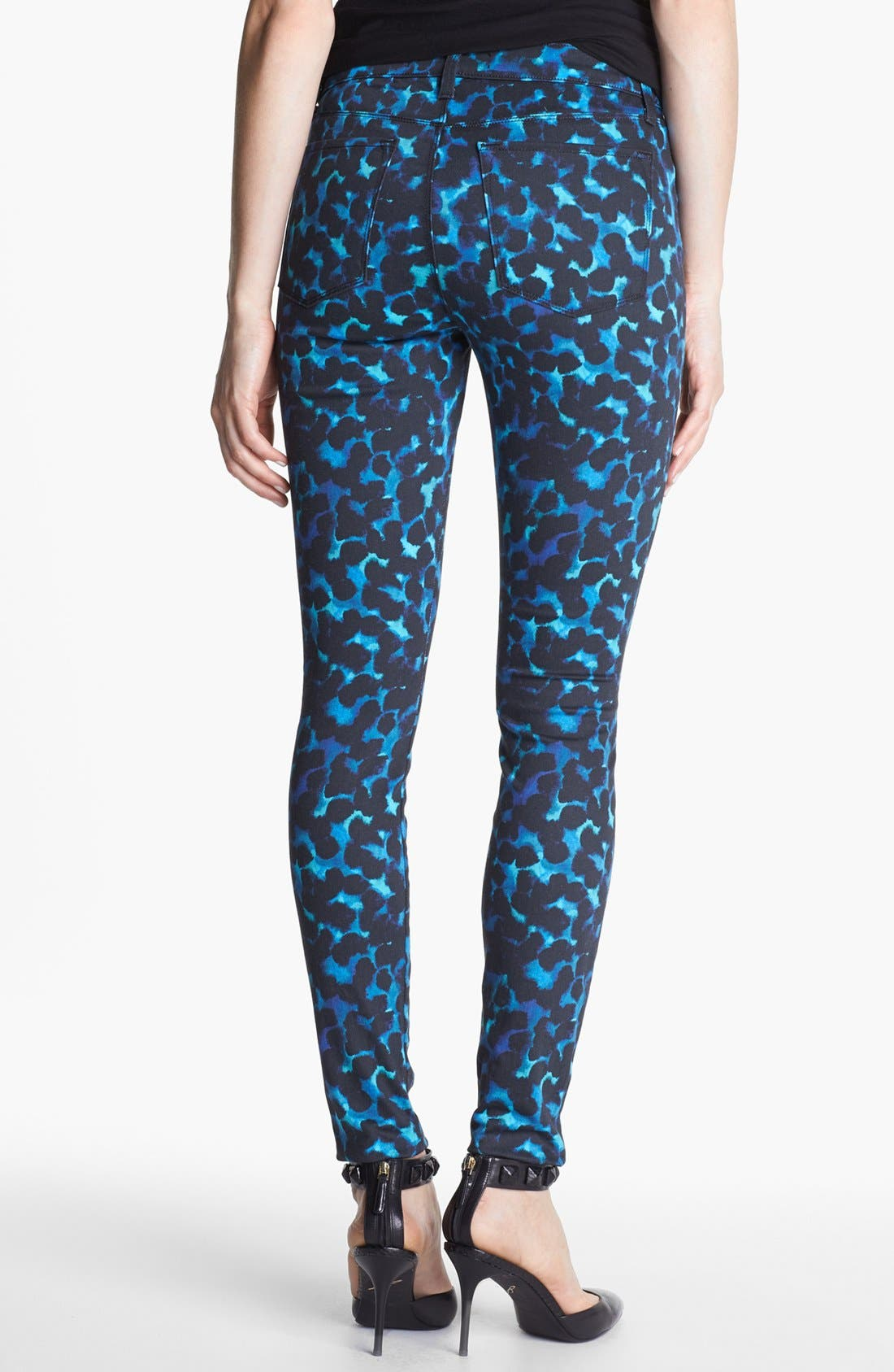 Alternate Image 2  - J Brand Print Super Skinny Jeans (Indigo Ink)