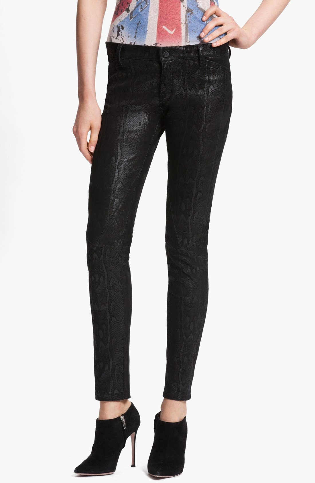 Main Image - Faith Connexion Python Print Suede Leggings