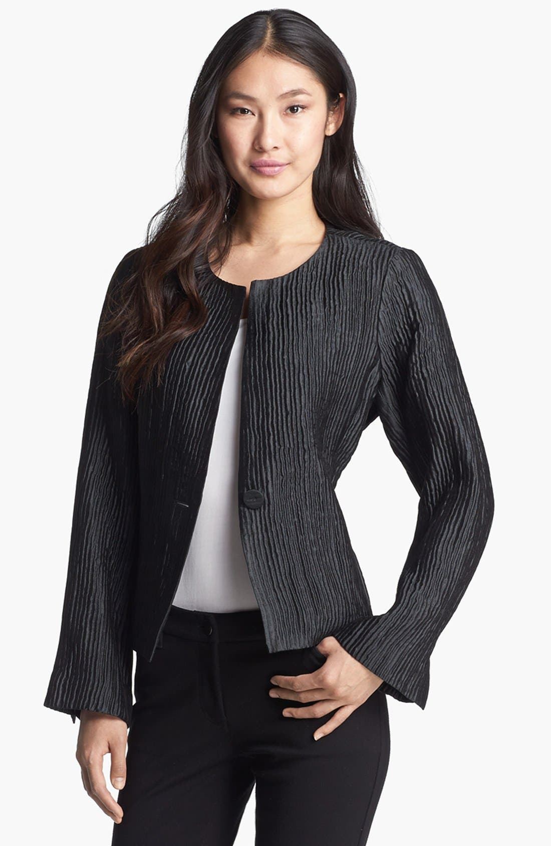 Alternate Image 1 Selected - Eileen Fisher Textured Silk Blend Jacket