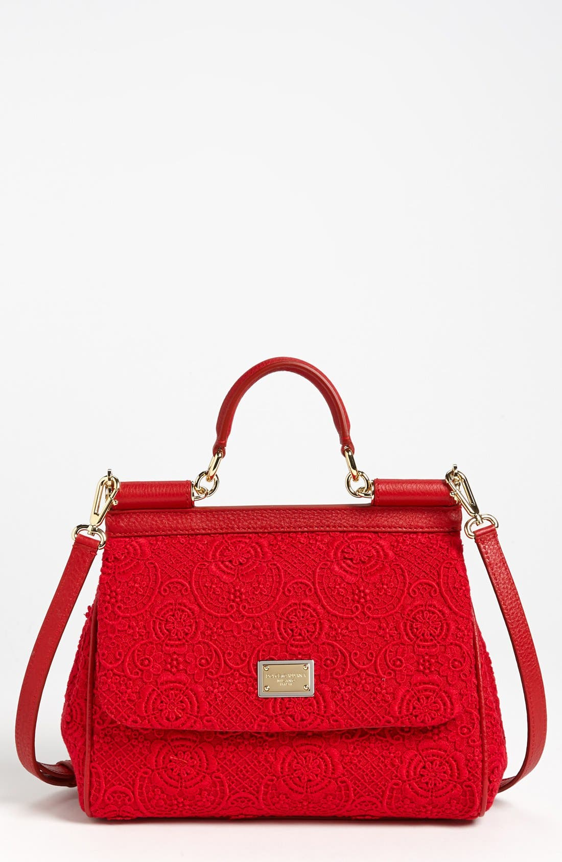 Alternate Image 1 Selected - Dolce&Gabbana 'Miss Sicily - Small' Leather & Lace Satchel