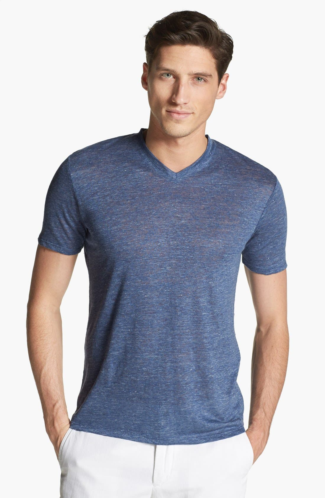 Alternate Image 1 Selected - Vince V-Neck Linen T-Shirt