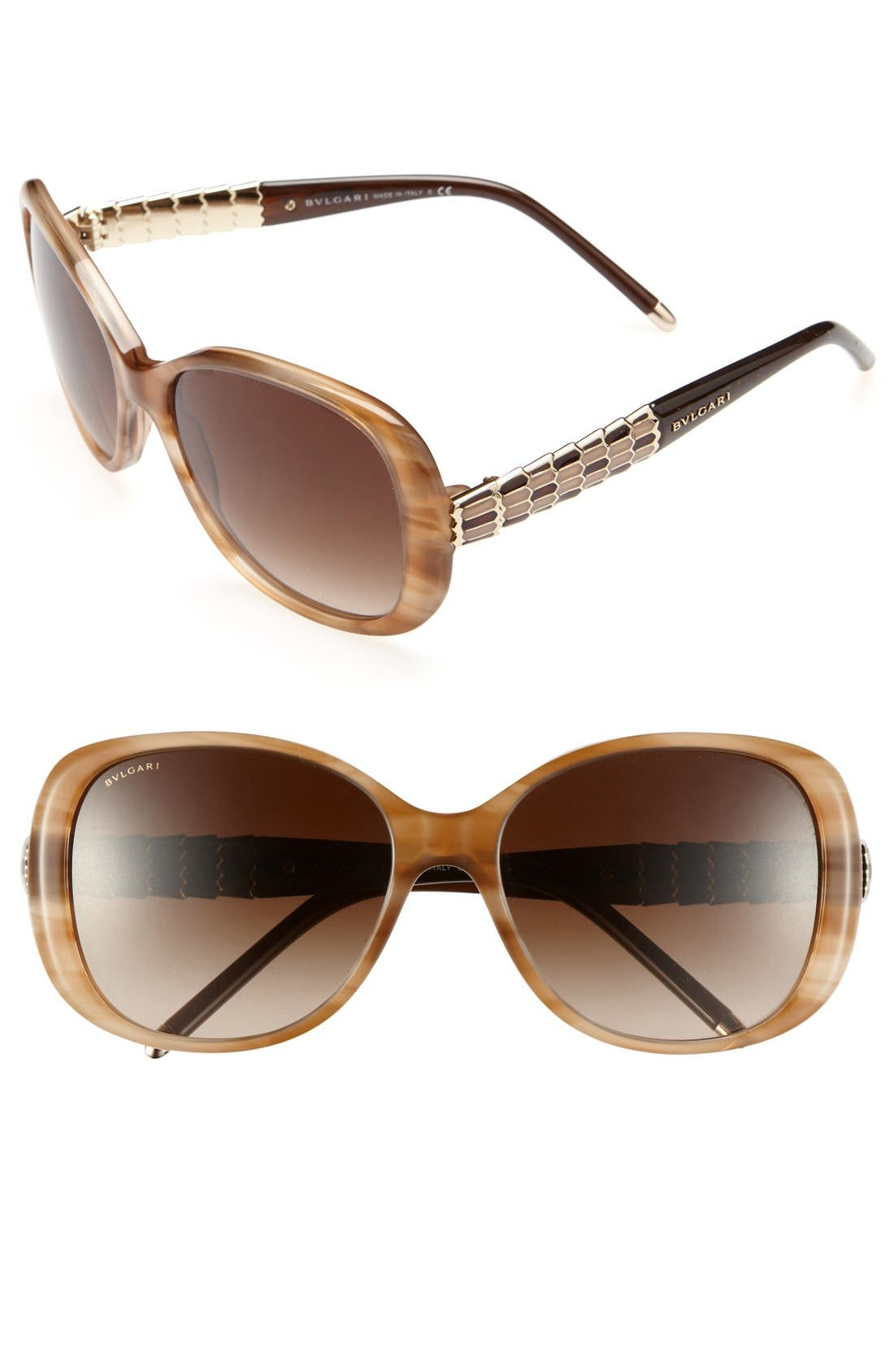 Main Image - BVLGARI 56mm Embellished Temple Sunglasses