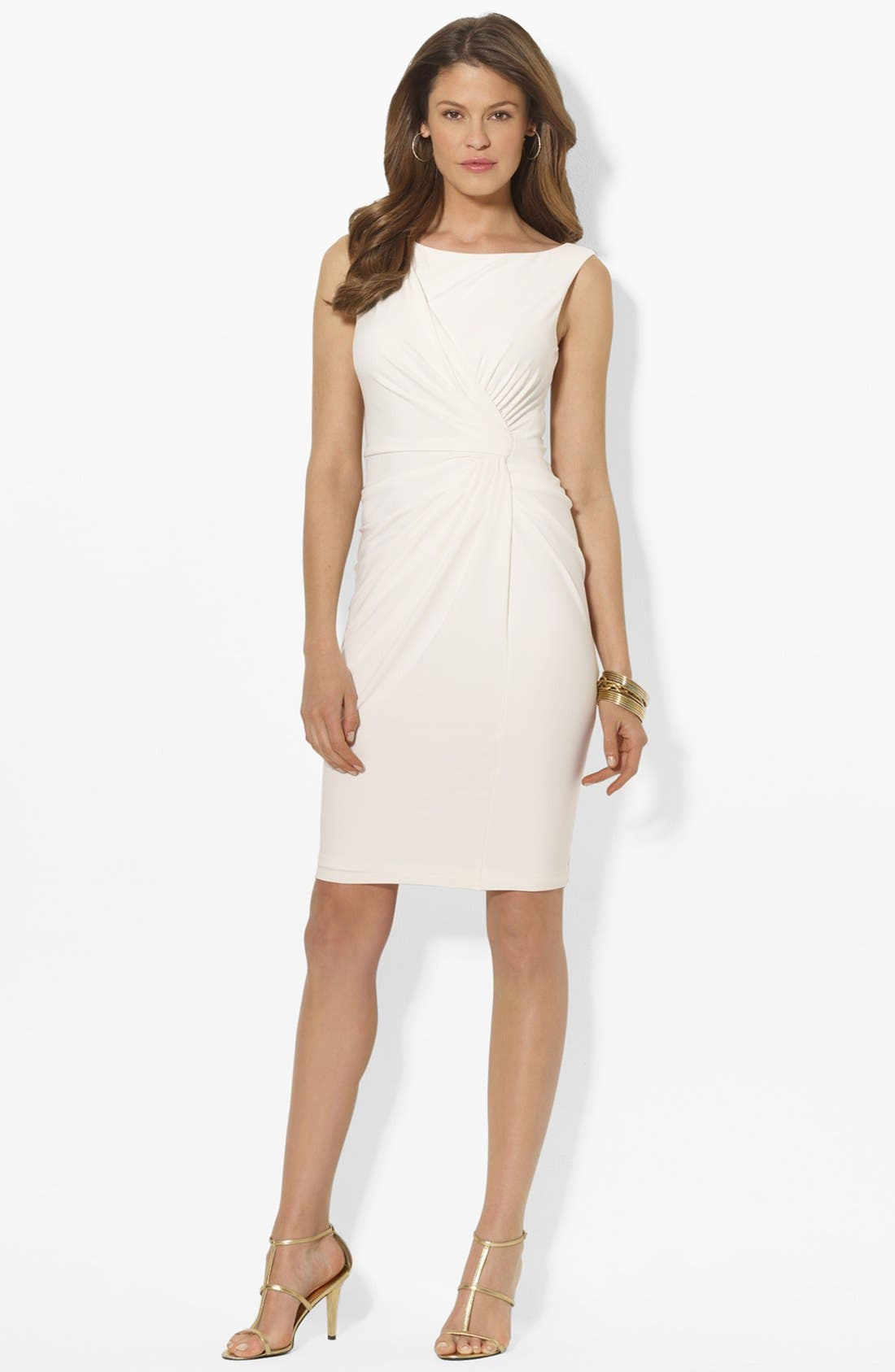 Main Image - Lauren Ralph Lauren Knot Front Matte Jersey Sheath Dress