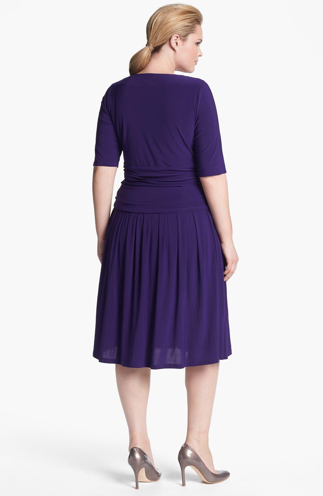 Alternate Image 2  - Eliza J Jersey Fit & Flare Dress (Plus Size) (Online Only)