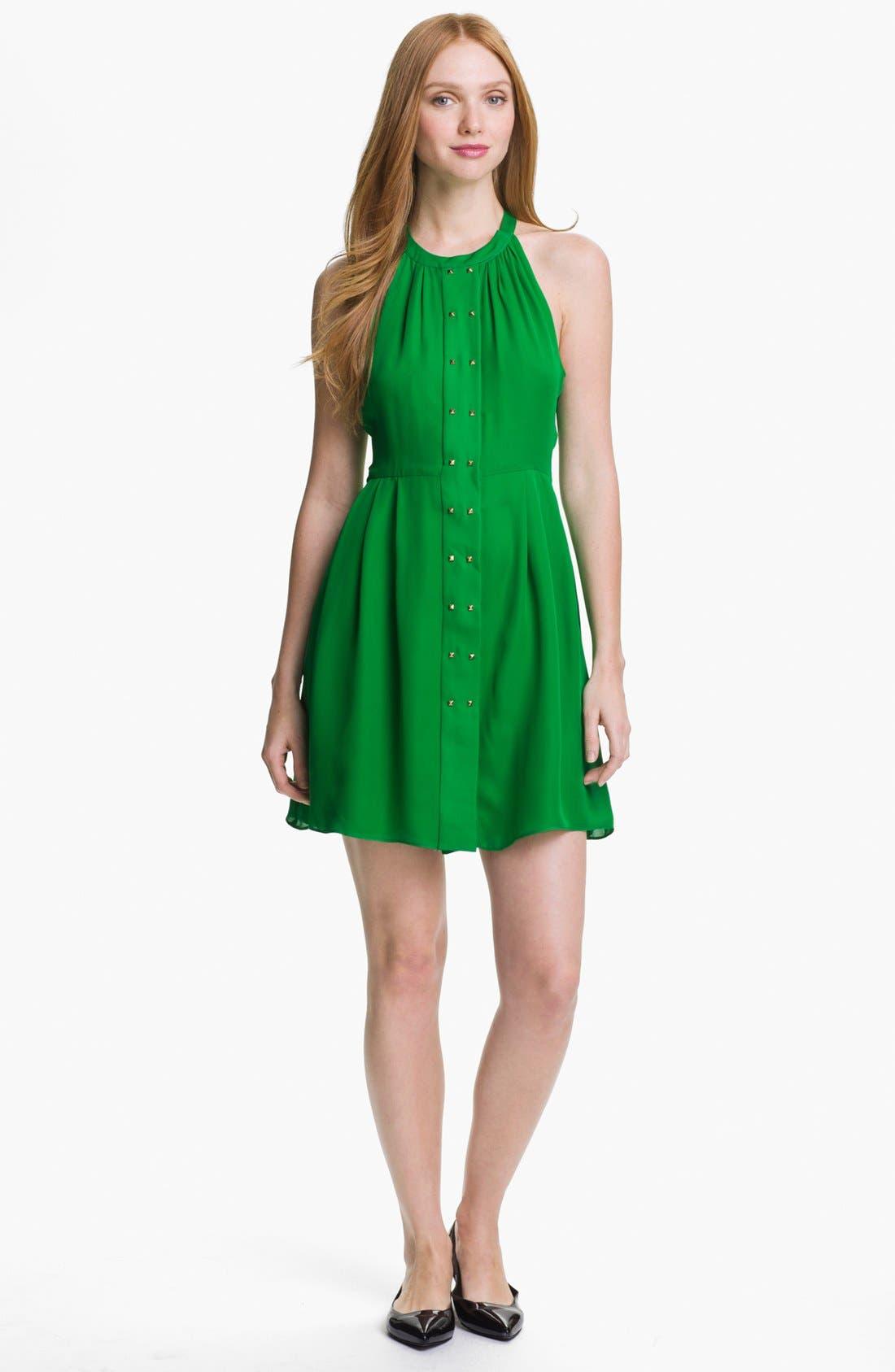 Main Image - Parker 'Nicole' Studded Silk A-Line Dress