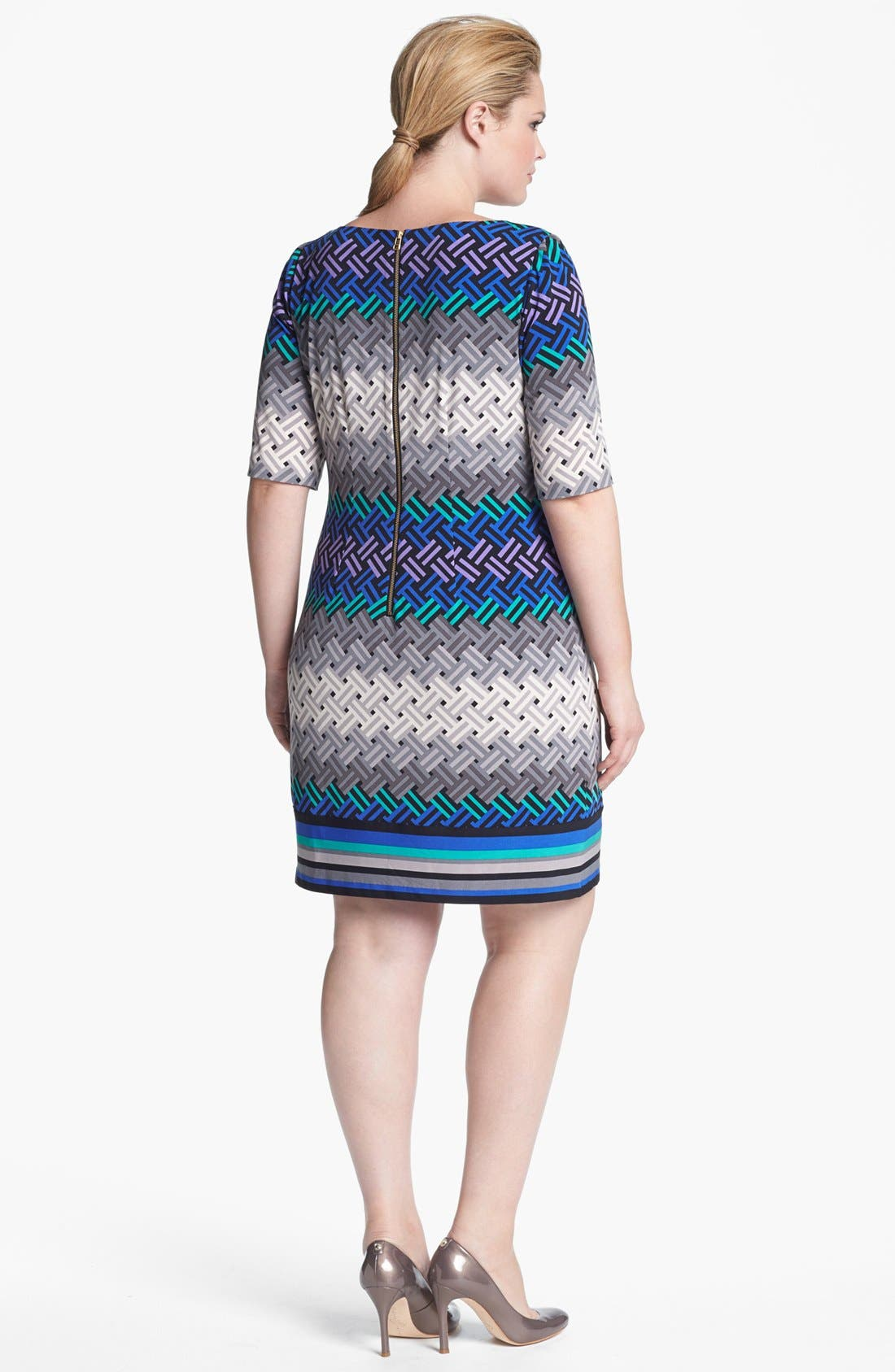 Alternate Image 2  - Eliza J Print Shift Dress (Plus Size) (Online Only)