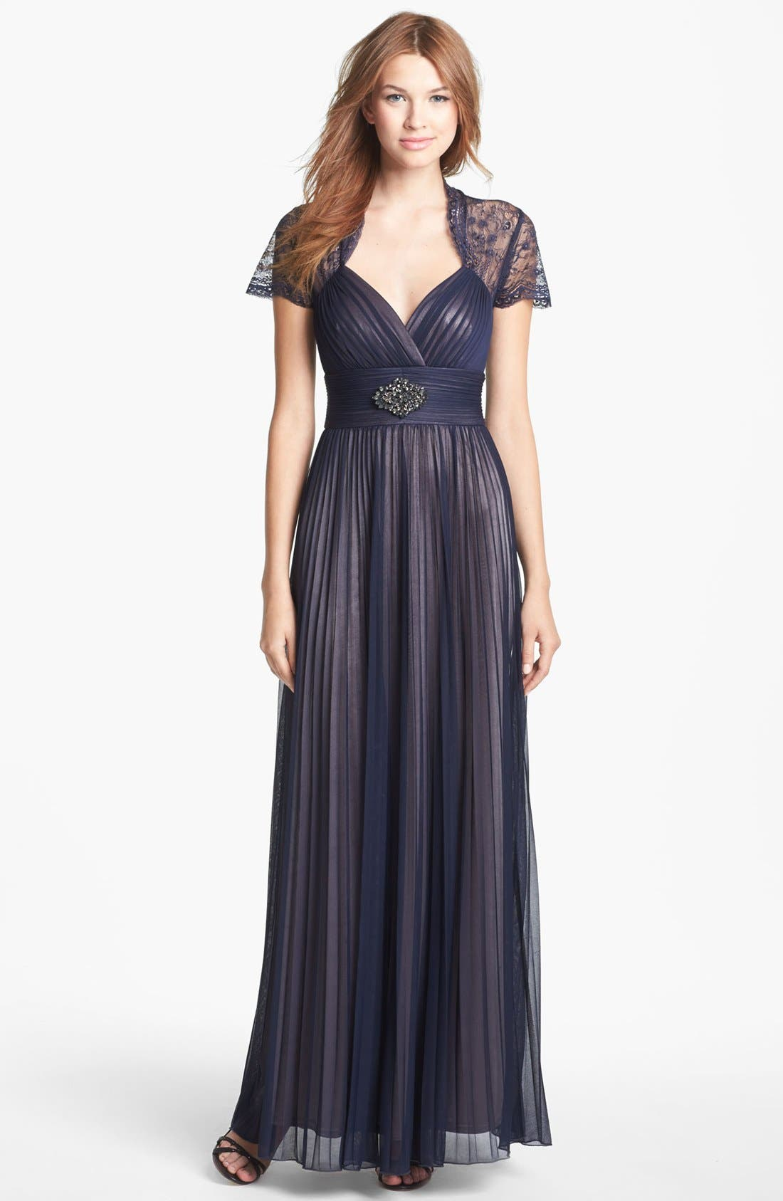 Main Image - Betsy & Adam Lace Sleeve Pleated Mesh Gown