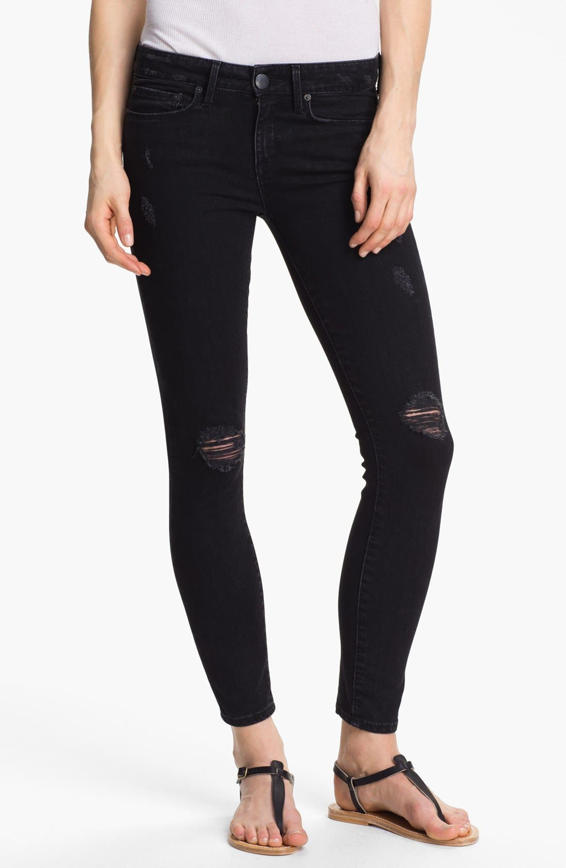 Main Image - Vince Destroyed Skinny Stretch Ankle Jeans