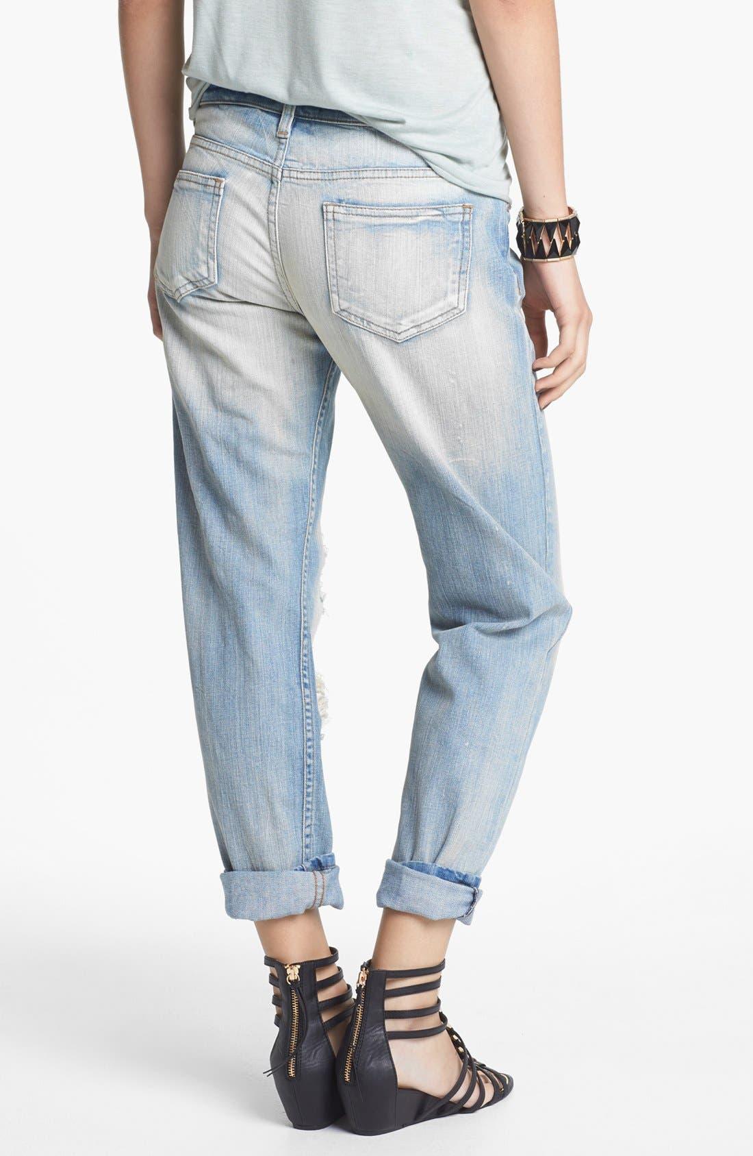 Alternate Image 2  - STS Blue Destroyed Boyfriend Crop Jeans (Light) (Juniors)