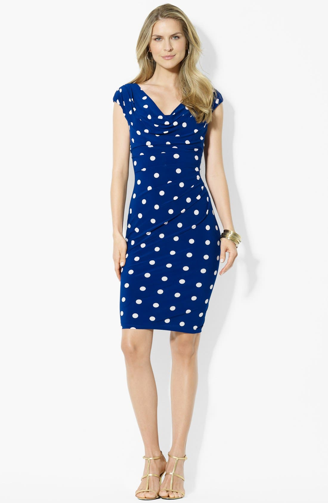 Main Image - Lauren Ralph Lauren Polka Dot Jersey Dress