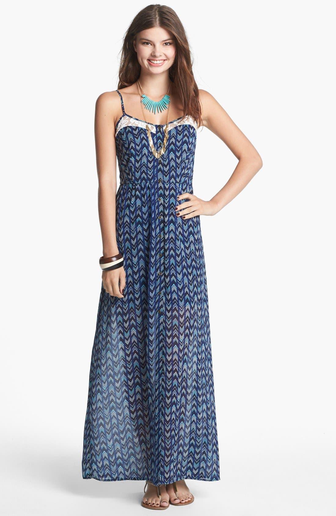 Main Image - Mimi Chica Lace Inset Maxi Dress (Juniors)