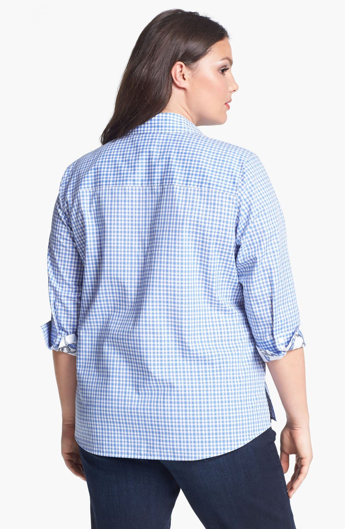 Alternate Image 2  - Foxcroft Gingham Check Shirt (Plus Size)