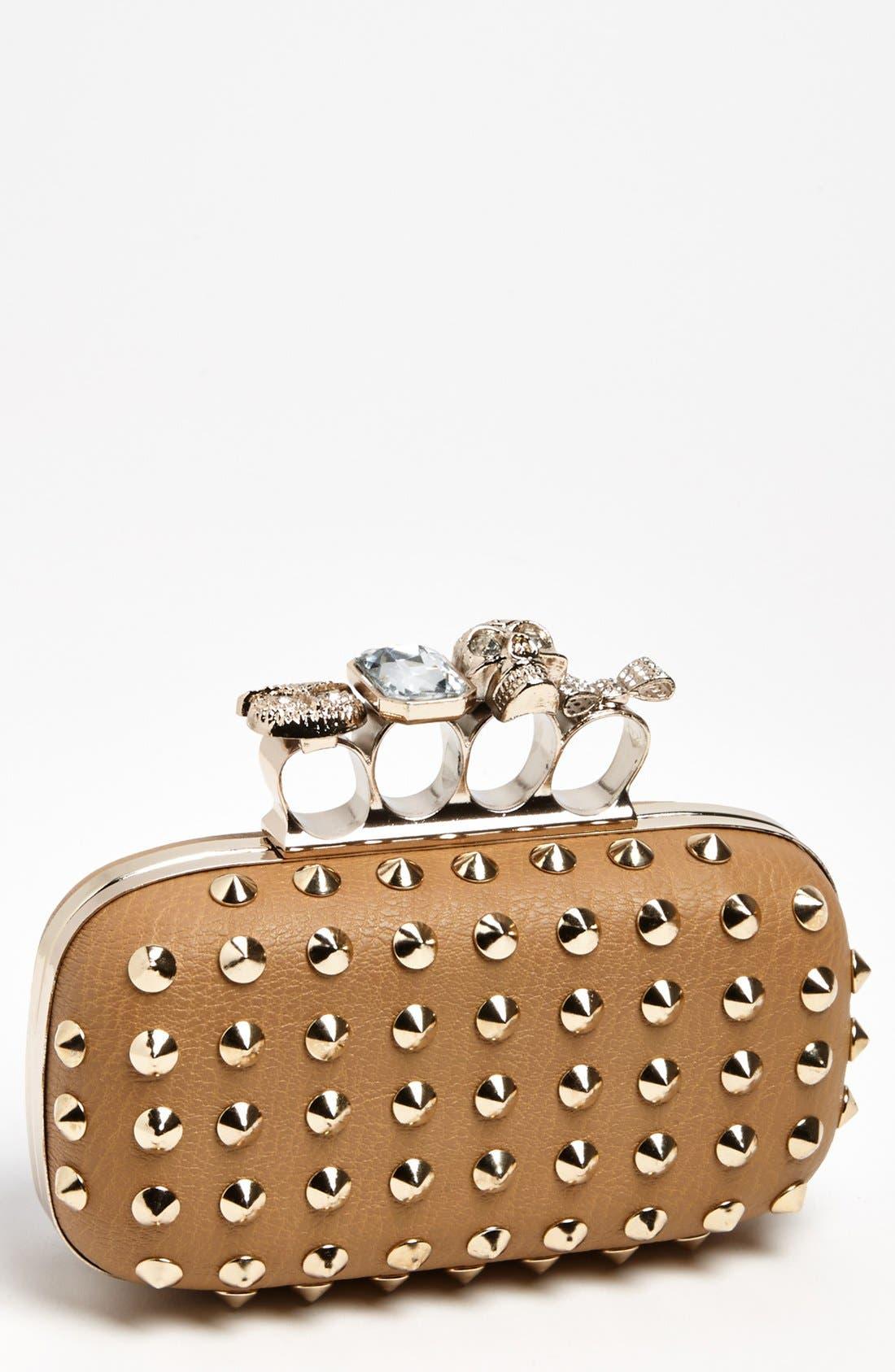 Main Image - Natasha Couture 'Finger' Studded Clutch