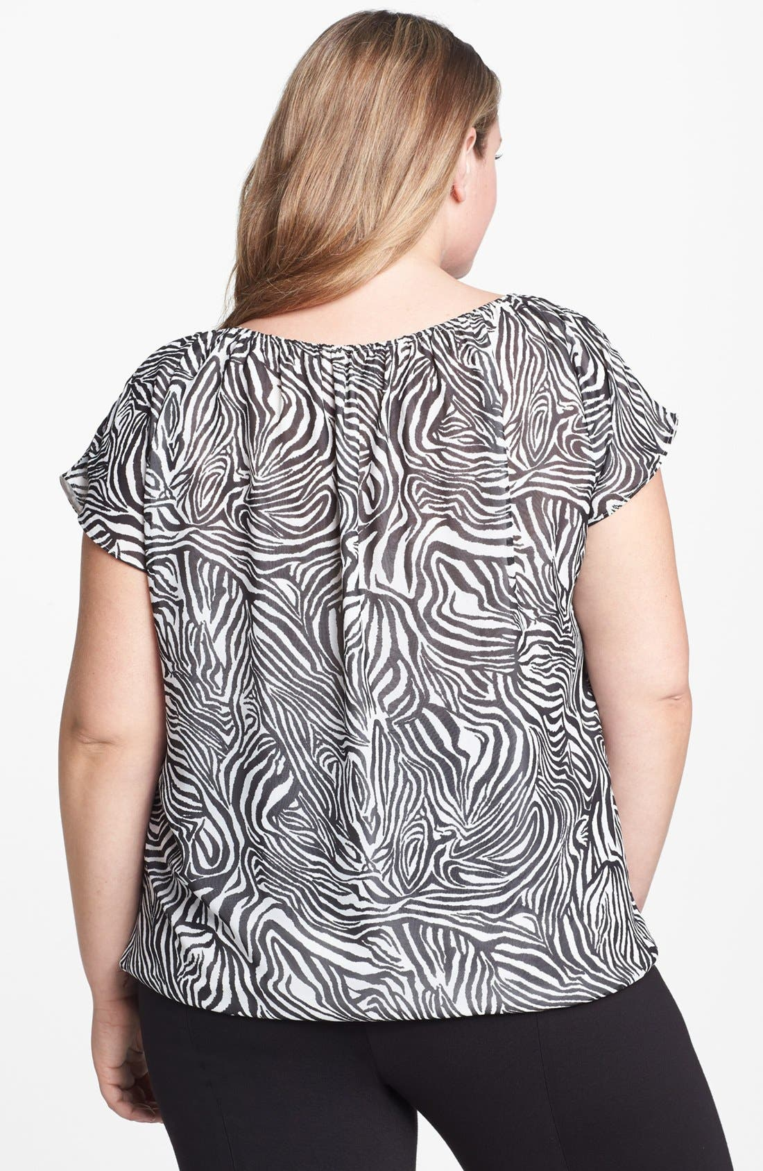 Alternate Image 2  - Vince Camuto Zebra Print Blouse (Plus Size)