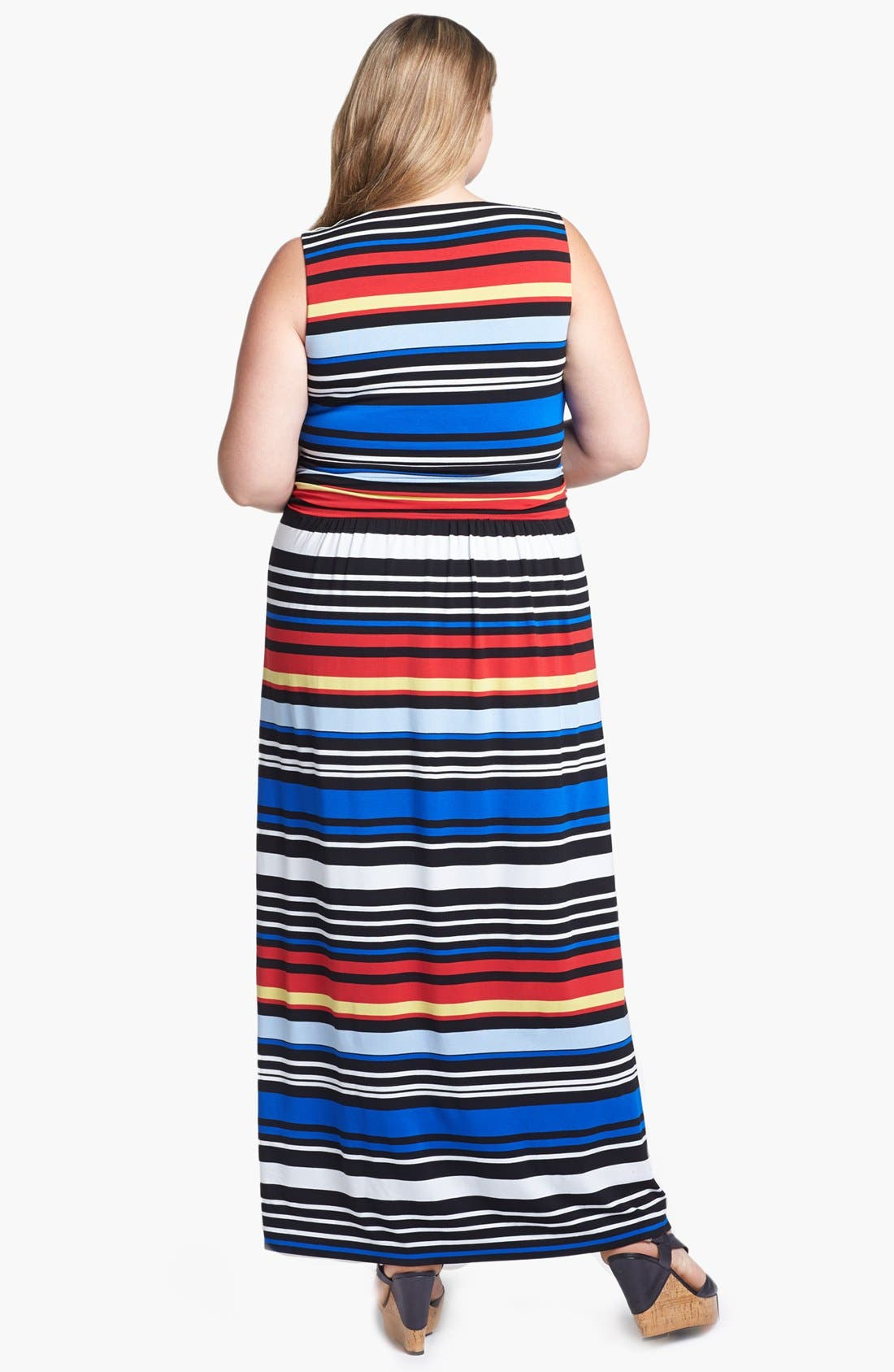 Alternate Image 2  - Vince Camuto Bright Stripe Maxi Dress (Plus Size) (Online Only)