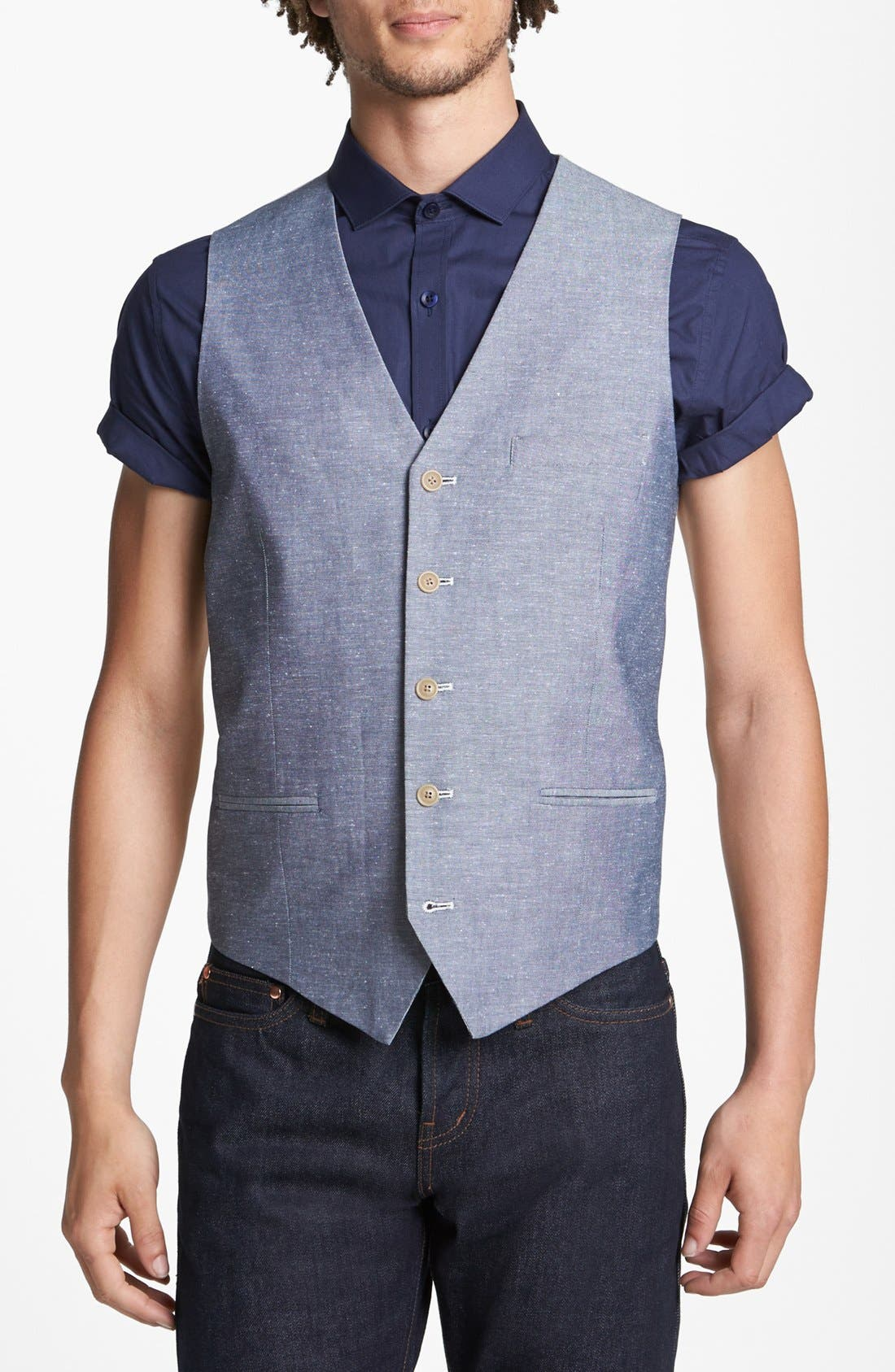 Alternate Image 1 Selected - Topman Trim Fit Oxford Waistcoat