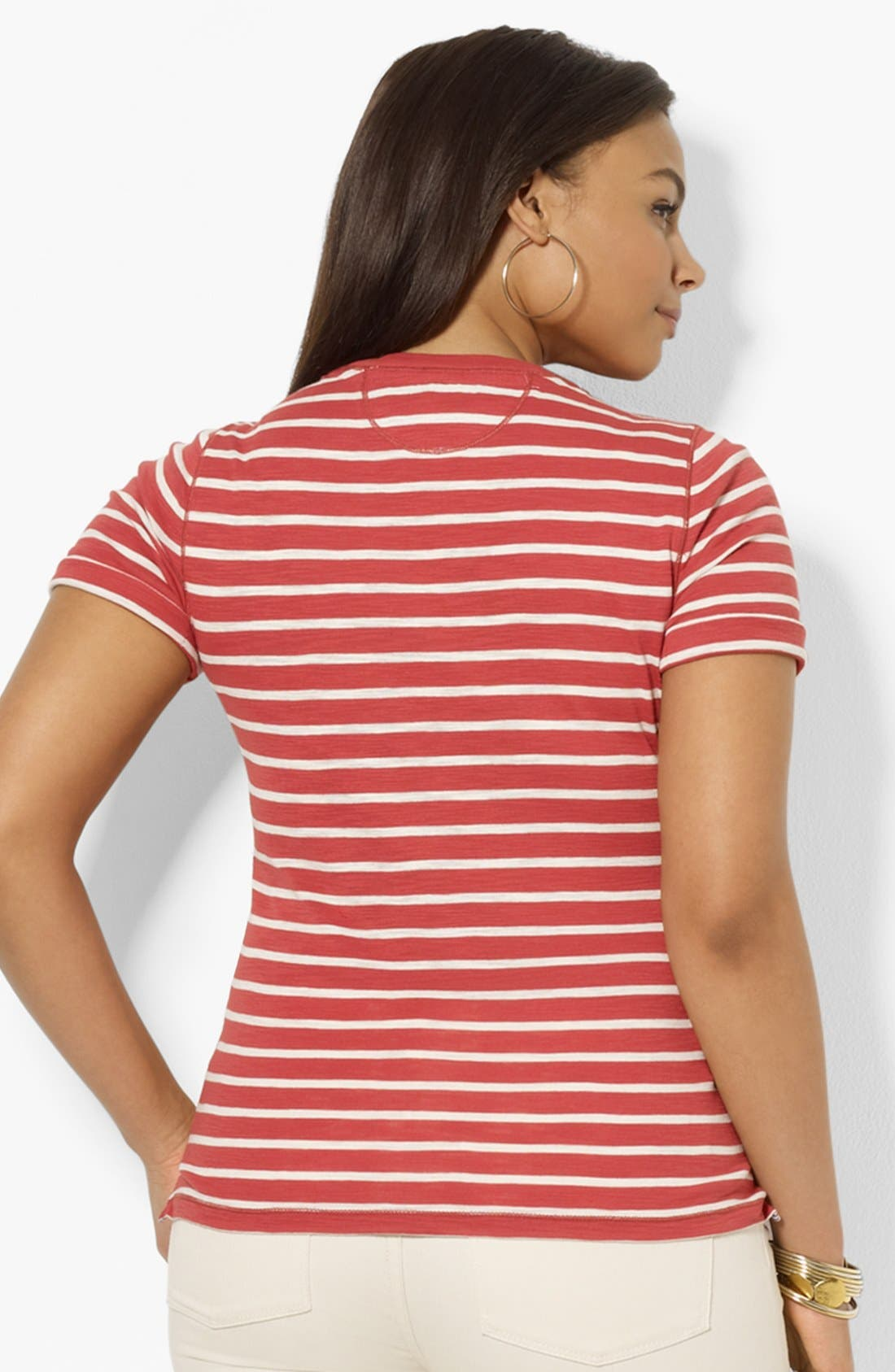 Alternate Image 2  - Lauren Ralph Lauren Stripe Crewneck Tee (Plus Size)
