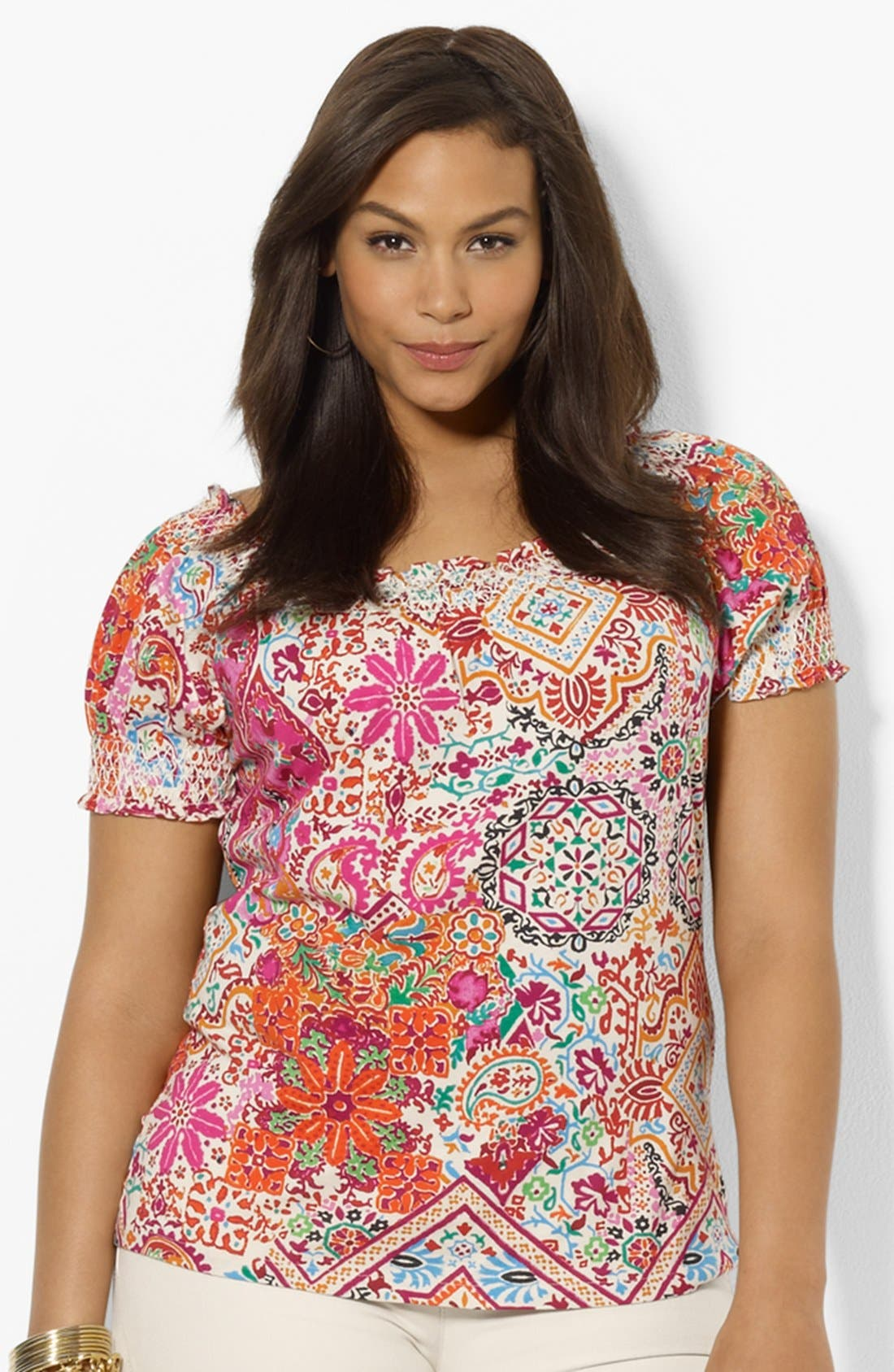 Alternate Image 1 Selected - Lauren Ralph Lauren Print Smocked Top (Plus Size)